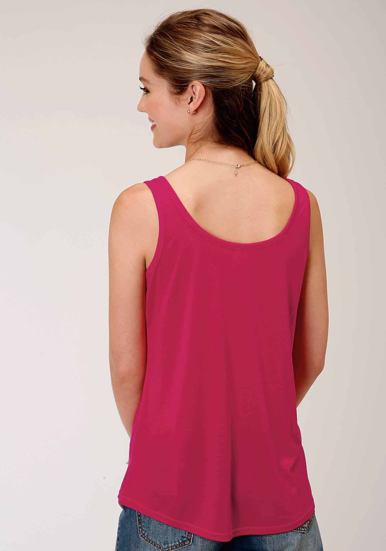 ROPER WOMENS PINK 00244 POLY RAYON SWING TANK FIVE STAR COLLECTION- SUMMER I LONG SLEEVE