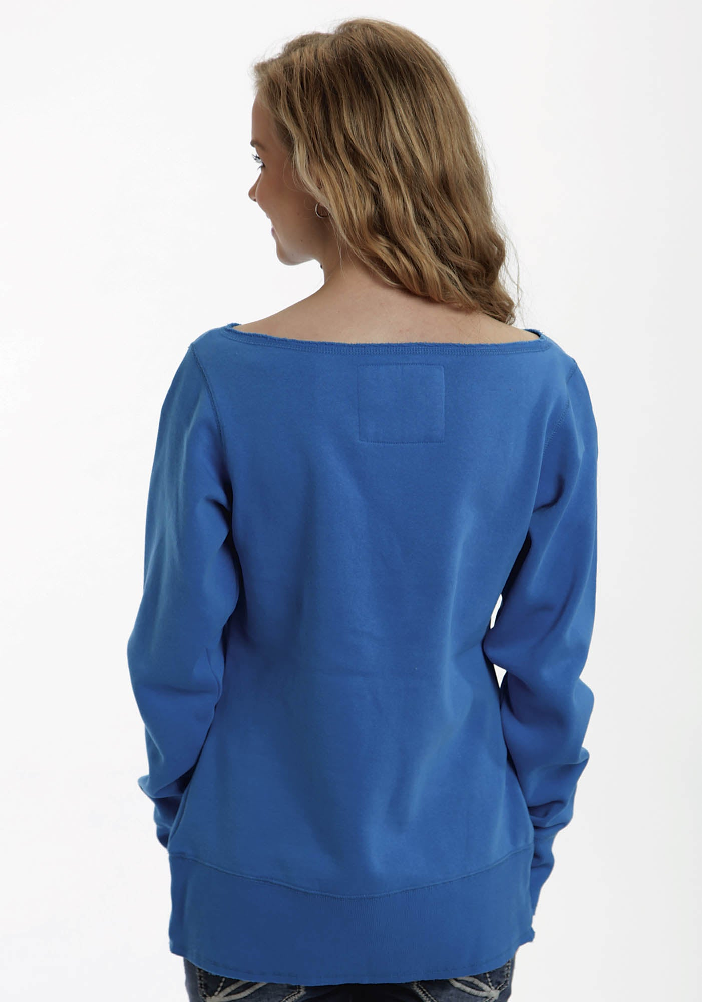 ROPER WOMENS BLUE 98005 W VINTAGE RAW EDGE PULL-OVER  LONG SLEEVE