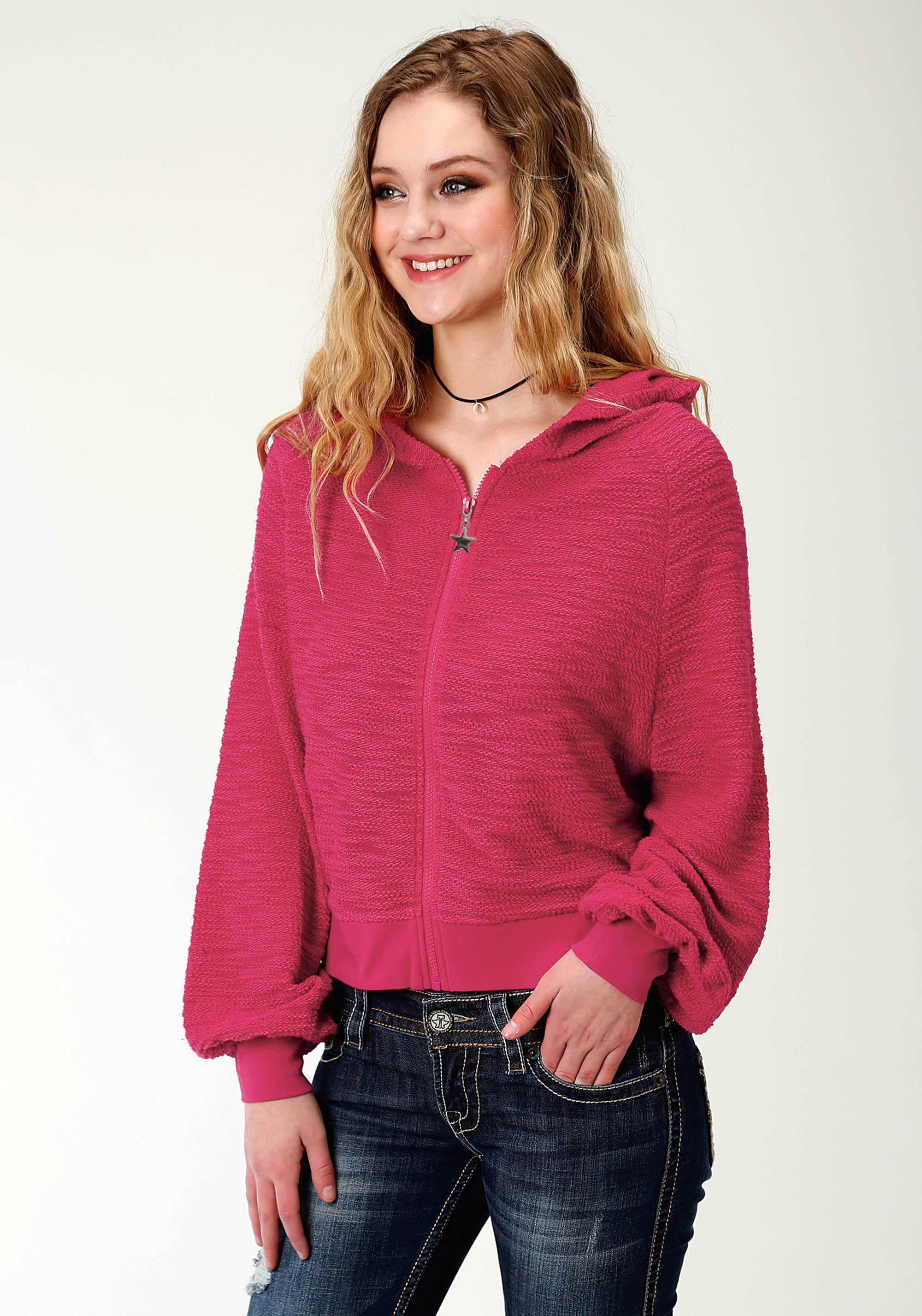 ROPER WOMENS PINK 2263 TEXTURED KNIT HOODED JACKET FIVE STAR COLLECTION- WINTER II LONG SLEEVE