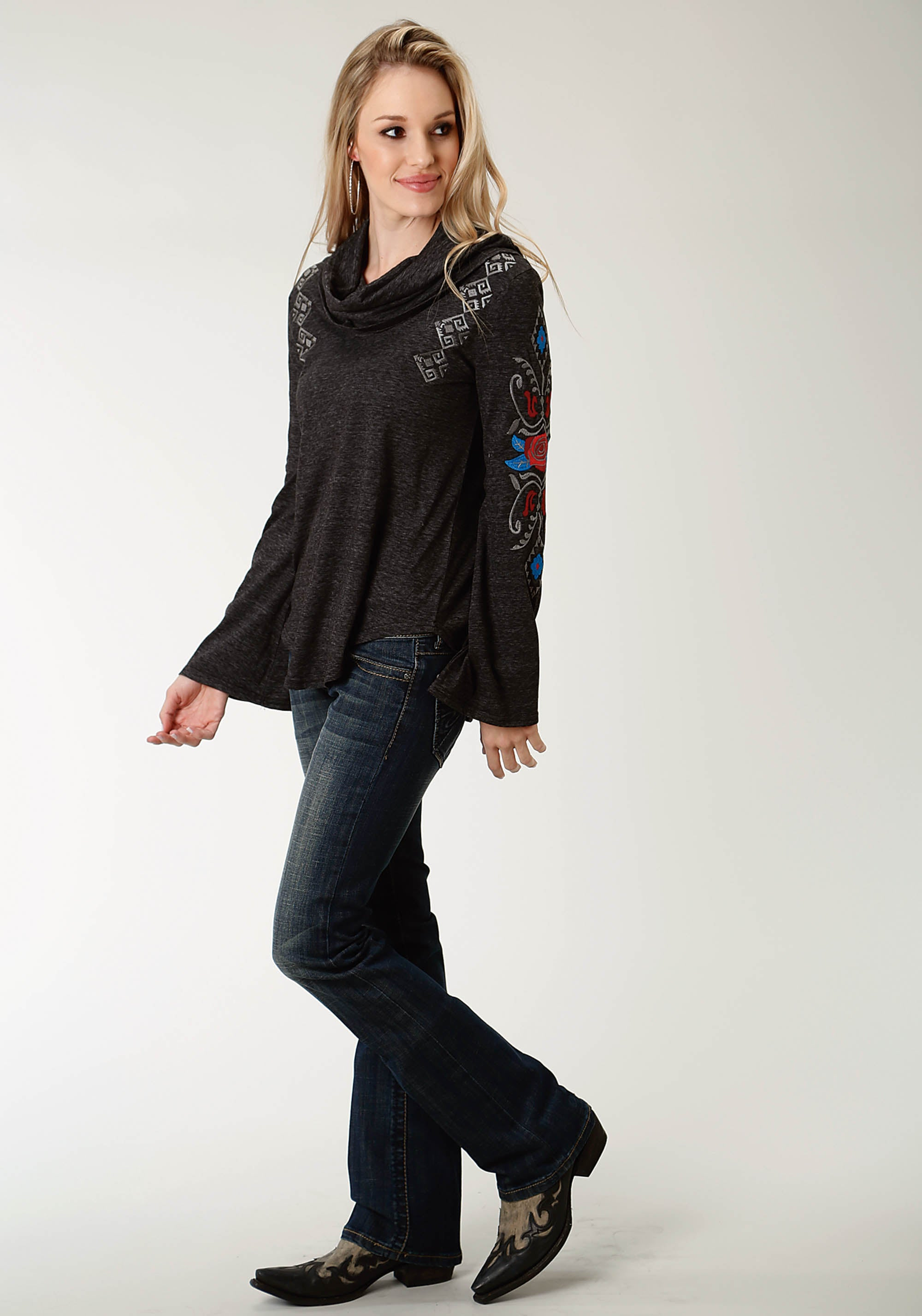 ROPER WOMENS BLACK 2321 T/C HEATHER JERSEY COWL NECK TOP STUDIO WEST- A ROSE IS A ROSE LONG SLEEVE
