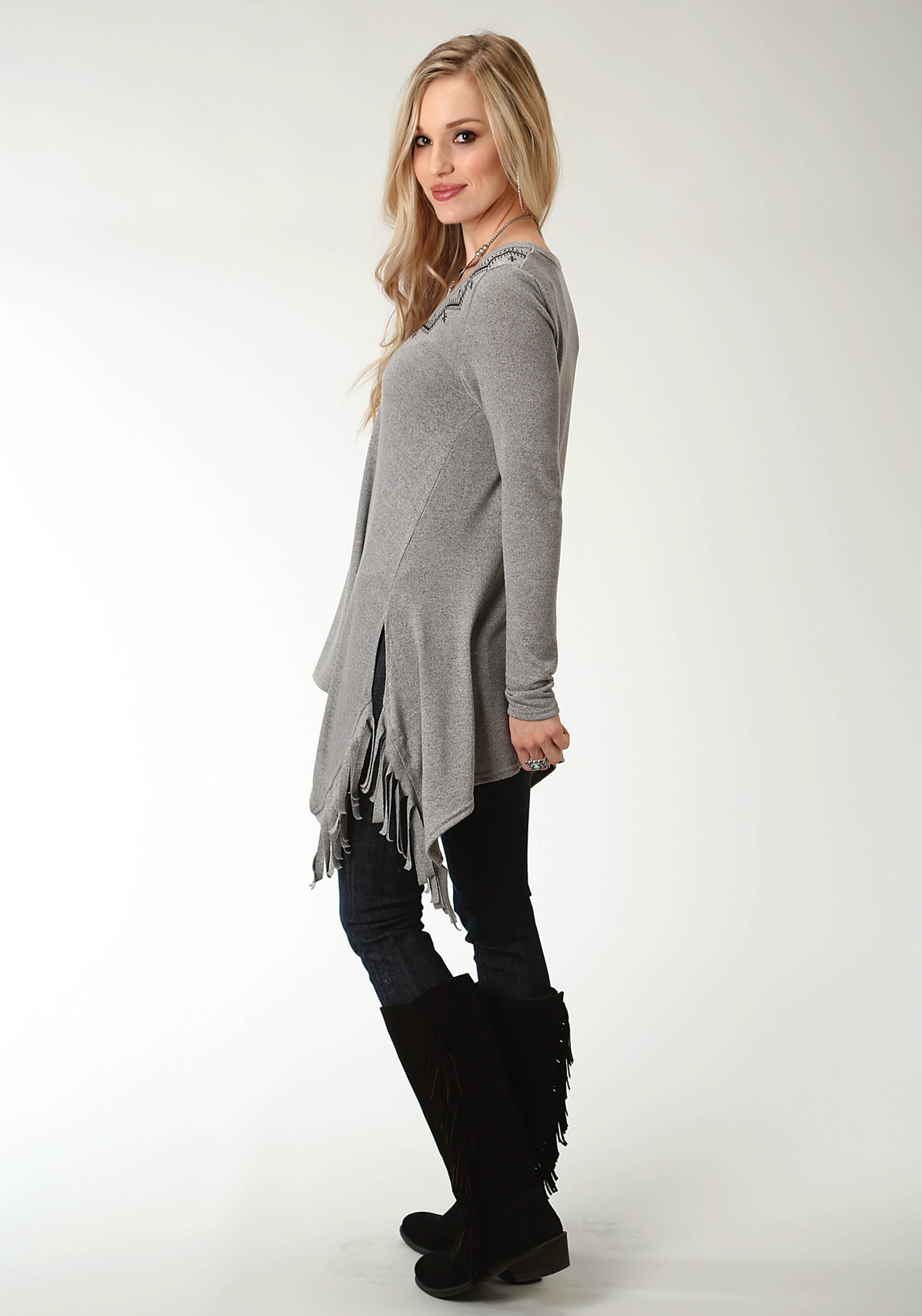 ROPER WOMENS GREY 2314 SWEATER JERSEY V NECK TUNIC STUDIO WEST- A ROSE IS A ROSE LONG SLEEVE