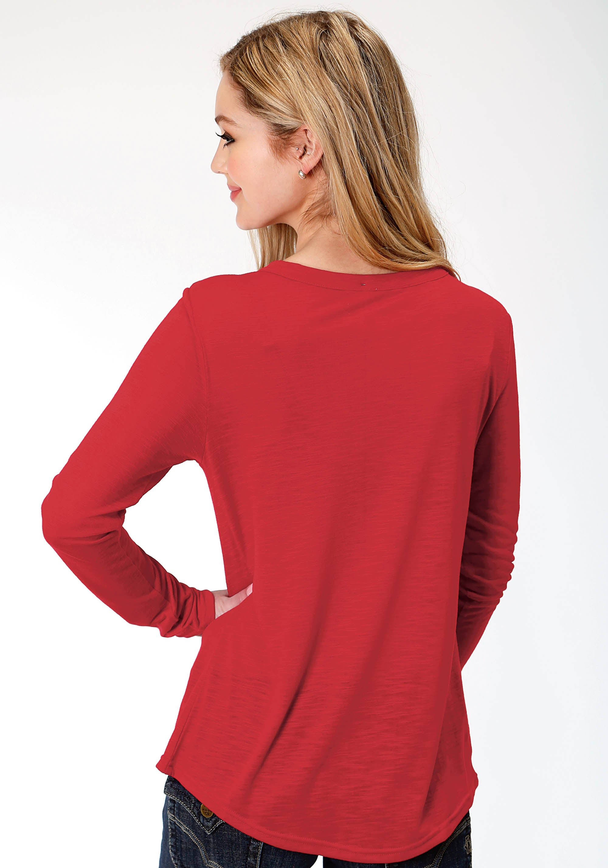 ROPER WOMENS RED 0489 P/R JERSEY LS CREW NECK TEE FIVE STAR COLLECTION- FALL I LONG SLEEVE