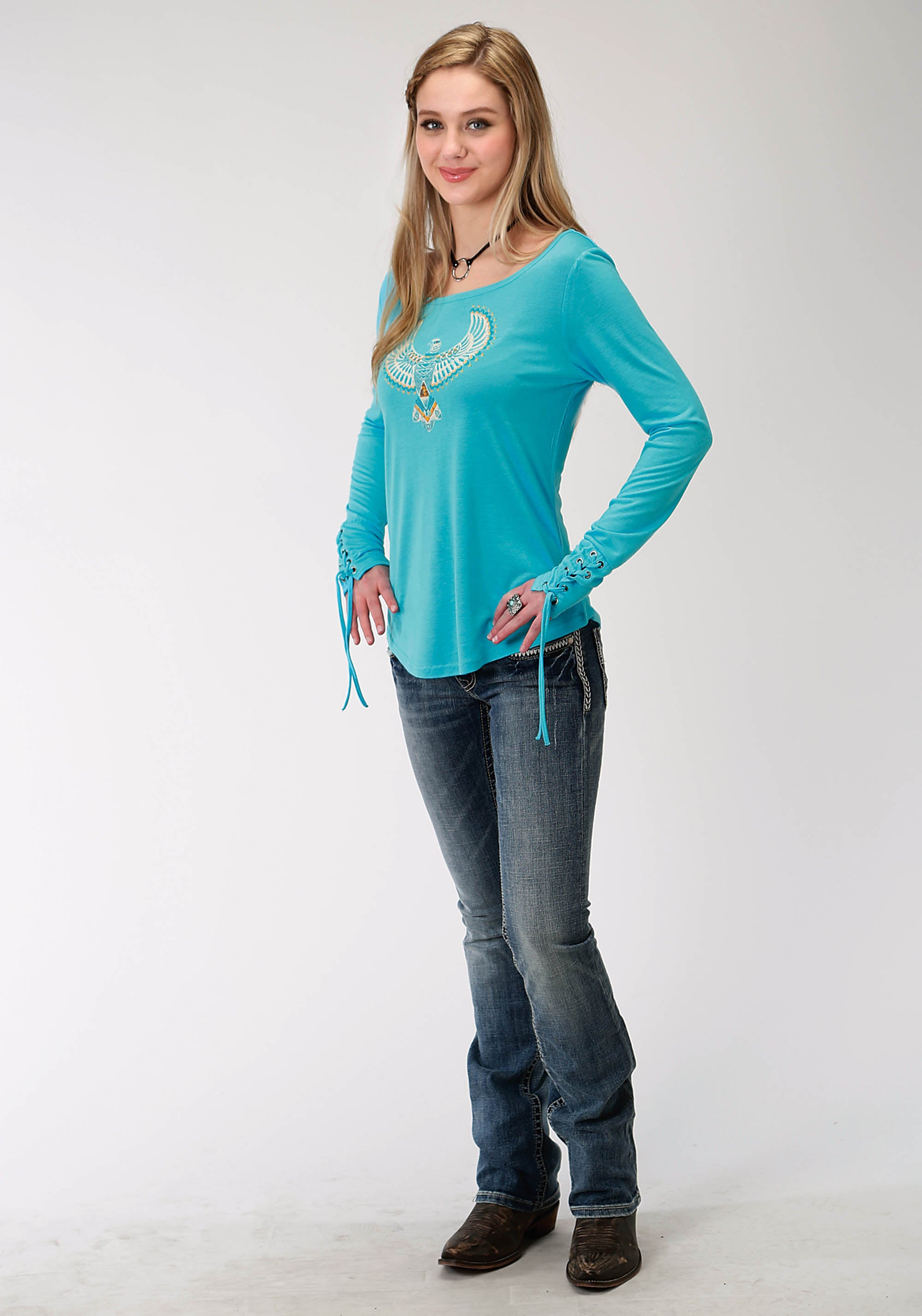 ROPER WOMENS BLUE 0490 P/R LADIES LS CREW NECK TEE FIVE STAR COLLECTION- FALL II LONG SLEEVE