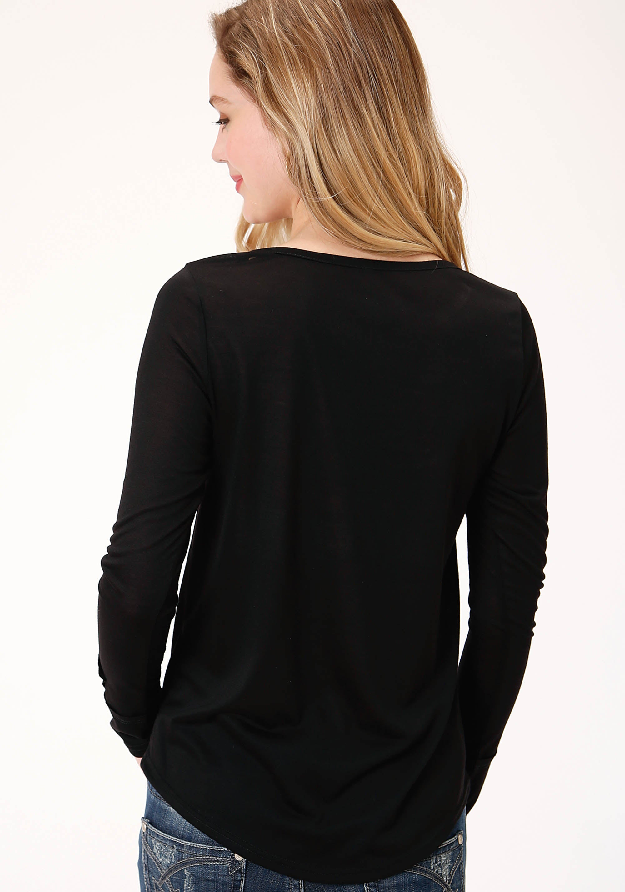 ROPER WOMENS BLACK 00375 POLY RAYON LS SCOOP NECK TEE FIVE STAR COLLECTION- FALL II LONG SLEEVE