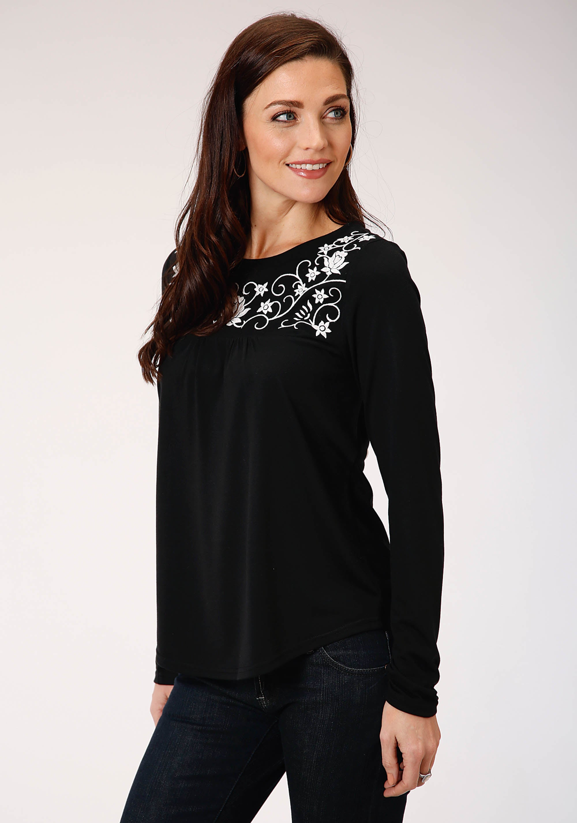 ROPER WOMENS BLACK 00380 POLY RAYON JERSEY TOP STUDIO WEST- THE WILD SIDE LONG SLEEVE