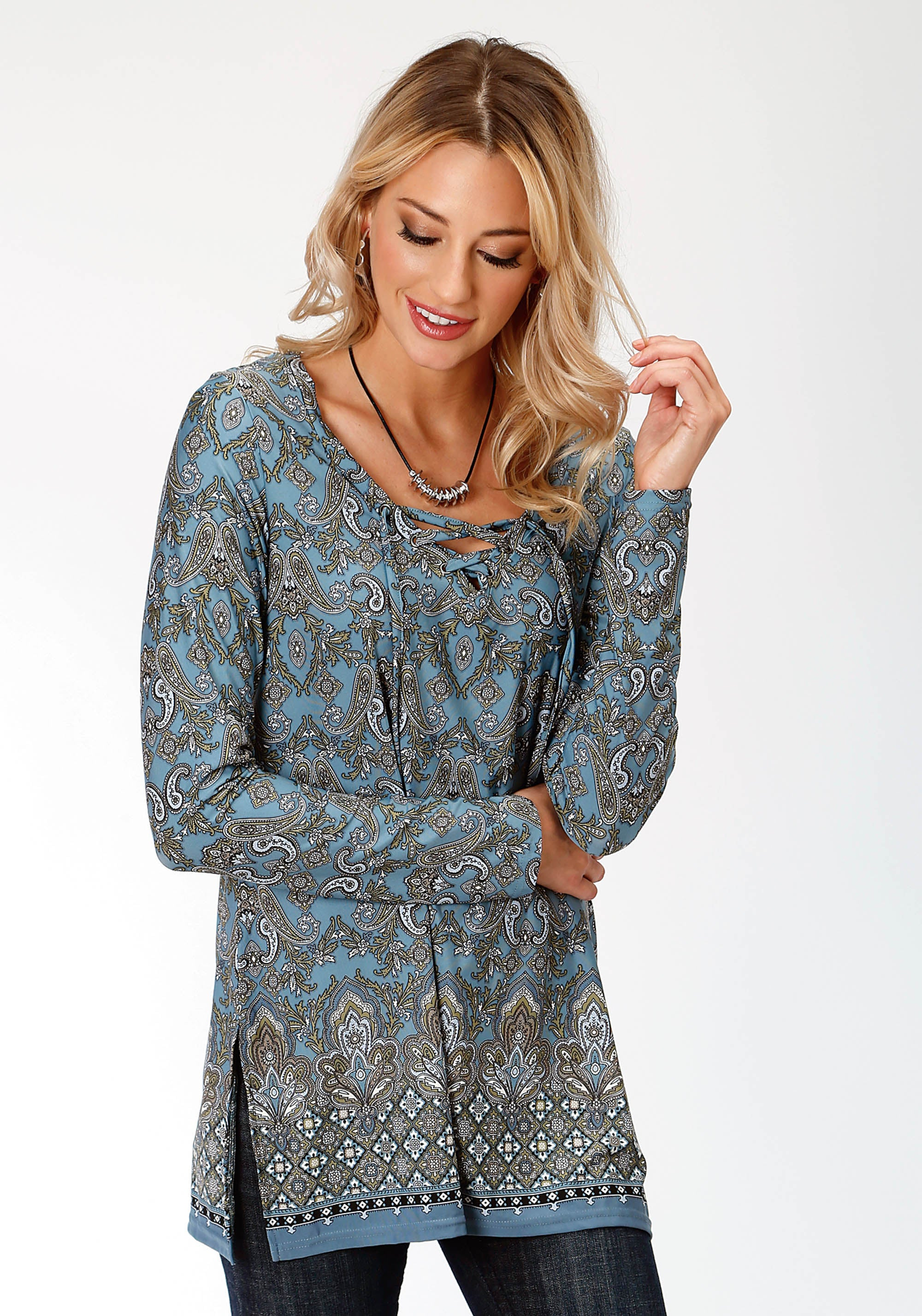 ROPER WOMENS BLUE 9501 BORDER PRT POLY SPAN JERSEY TUNIC STUDIO WEST COLLECTION- AUTUMN MEADOW LONG SLEEVE