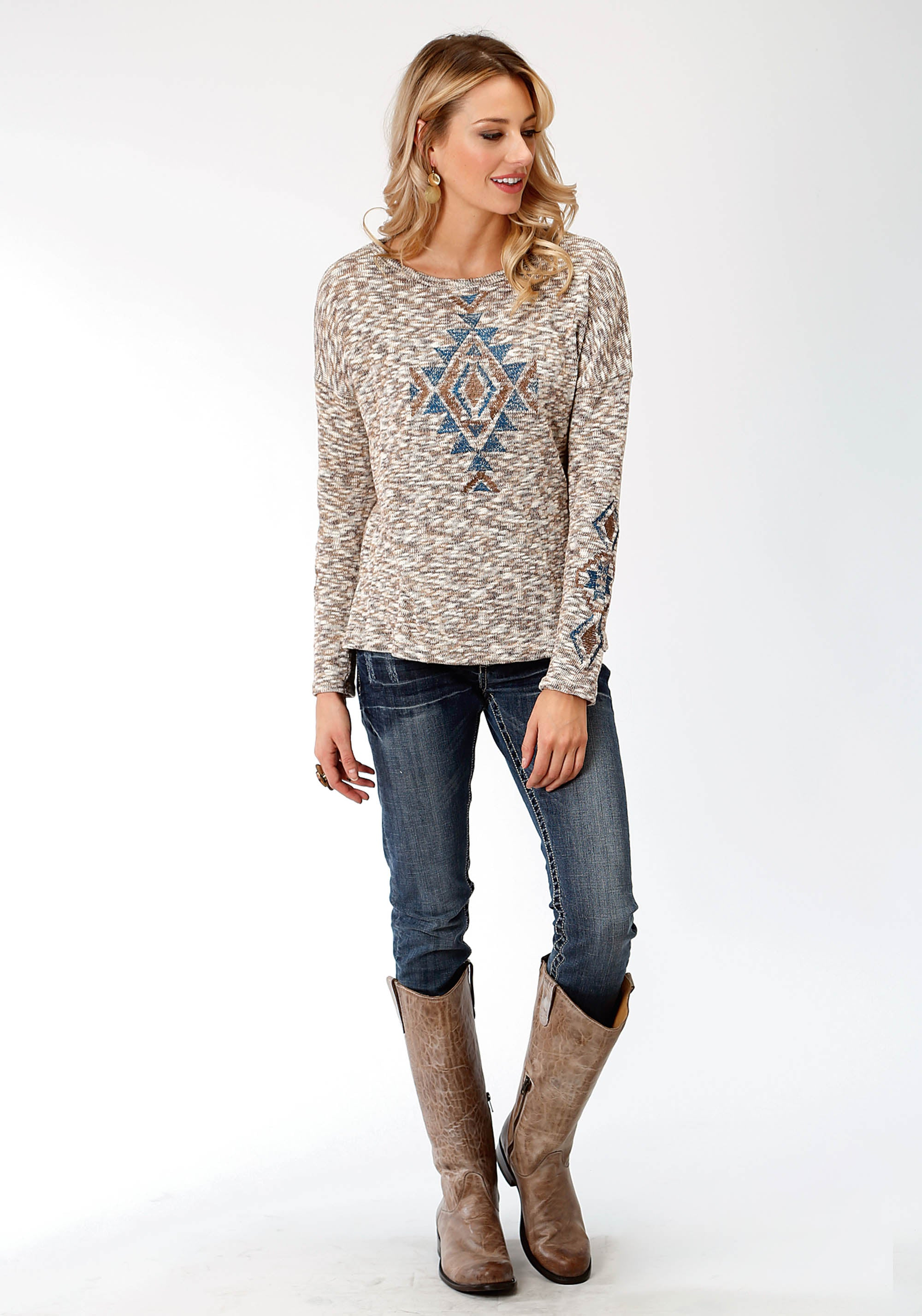 ROPER WOMENS BROWN 9488 MARLED YARN SWEATER STUDIO WEST COLLECTION- AUTUMN MEADOW LONG SLEEVE