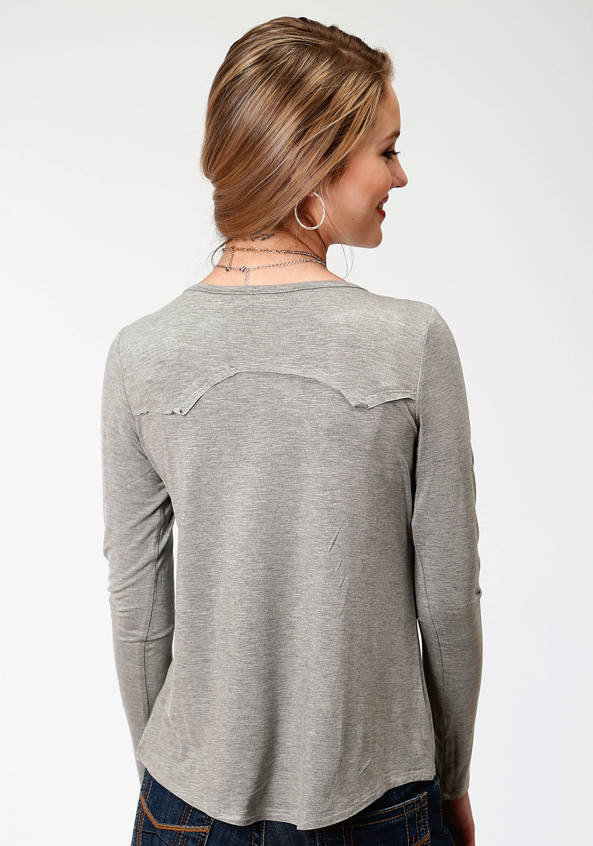 ROPER WOMENS GREY 3675 POLY RAYON JERSEY LS TEE FIVE STAR- WINTER II LONG SLEEVE