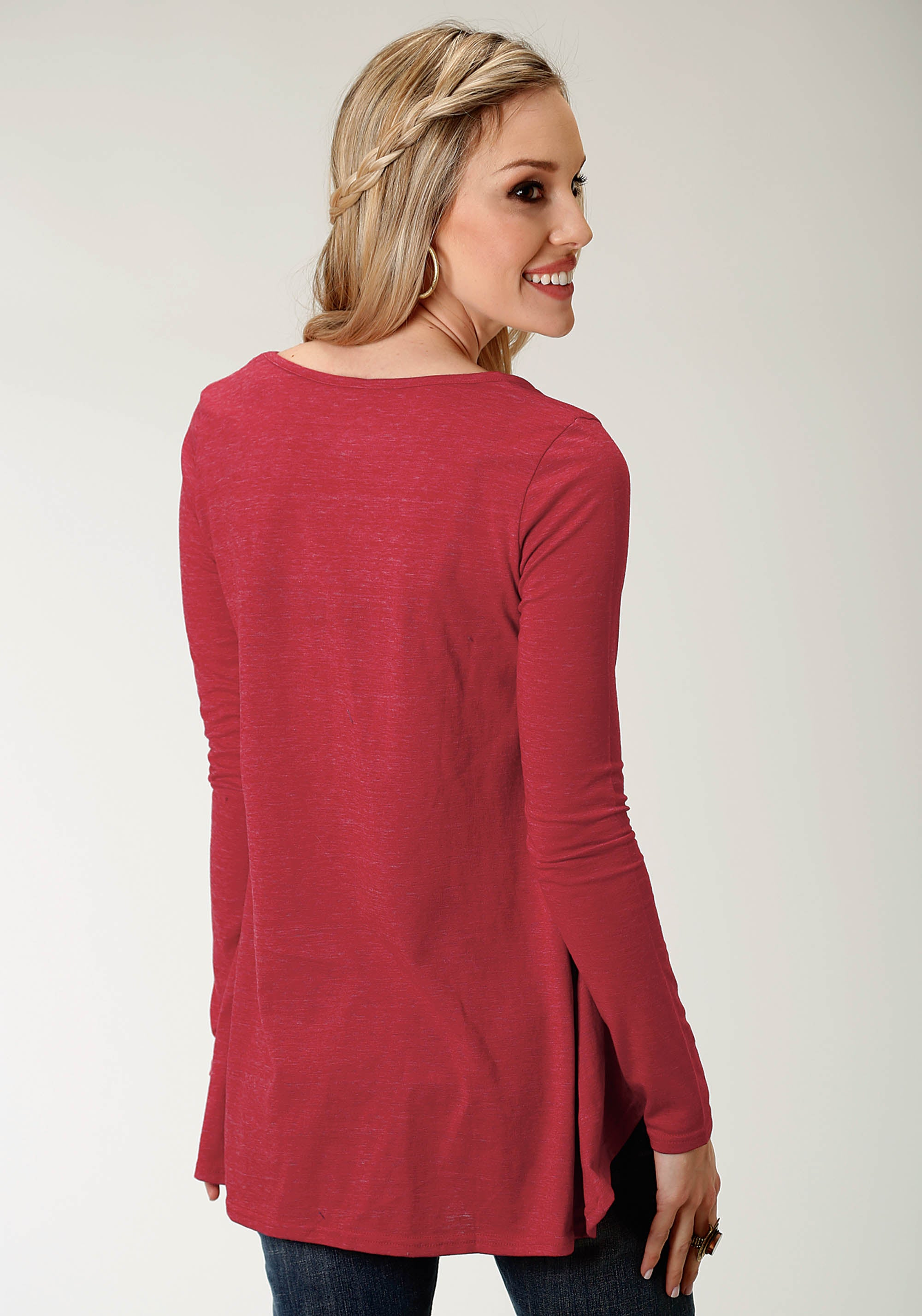 ROPER WOMENS RED 2321 T/C HEATHER JERSEY V NECK TOP STUDIO WEST- A ROSE IS A ROSE LONG SLEEVE