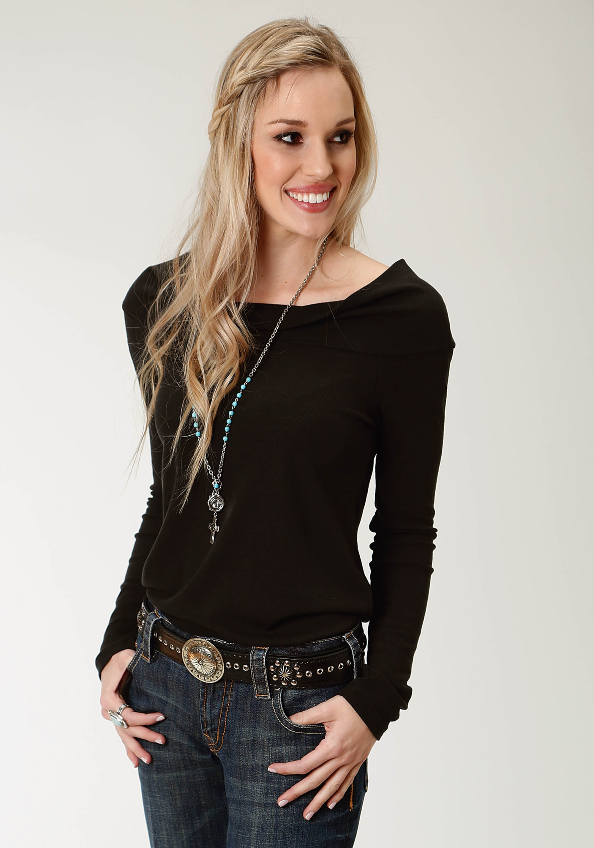 ROPER WOMENS BLACK 2319 2X1 RIB KNIT OFF THE SHOULDER TOP STUDIO WEST- A ROSE IS A ROSE LONG SLEEVE