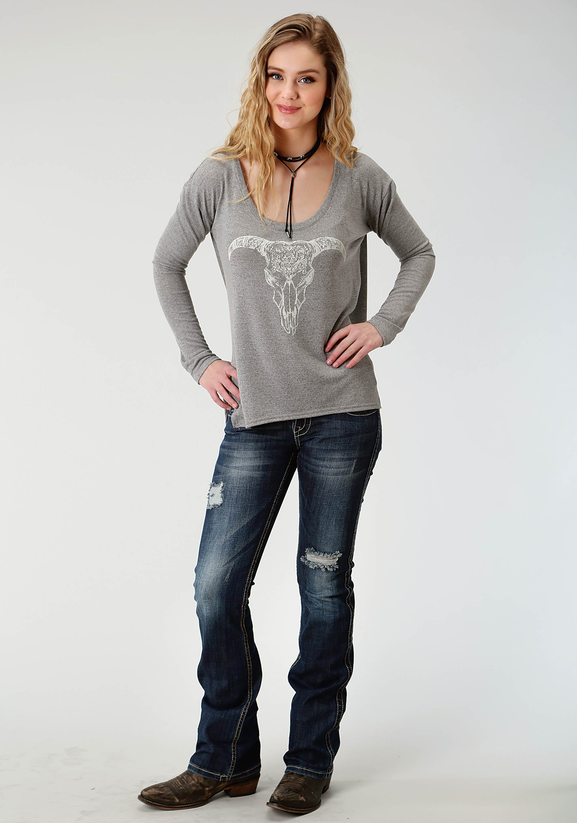 ROPER WOMENS GREY 2251 SCOOP NECK LS SWEATER FIVE STAR COLLECTION- FALL I LONG SLEEVE