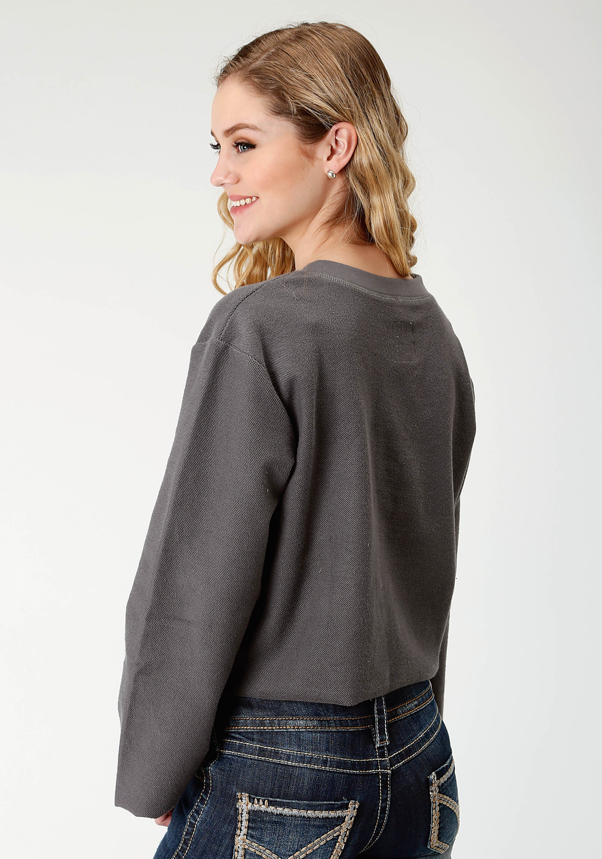 ROPER WOMENS GREY 2248 FRENCH TERRY SWEATSHIRT FIVE STAR- FALL I LONG SLEEVE