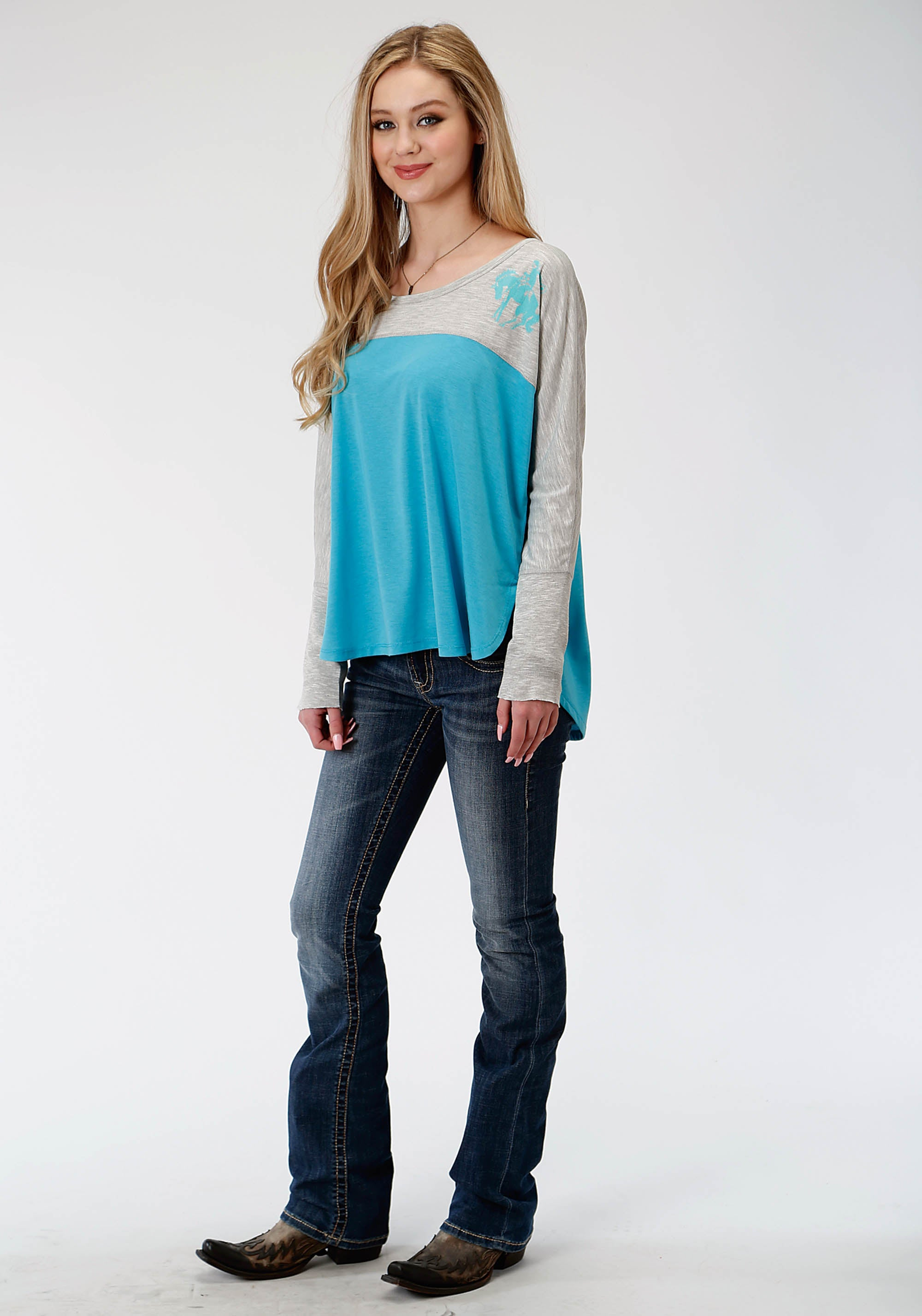 ROPER WOMENS GREY 0489 P/R JERSEY LS SCOOP NECK TEE FIVE STAR COLLECTION- FALL II LONG SLEEVE