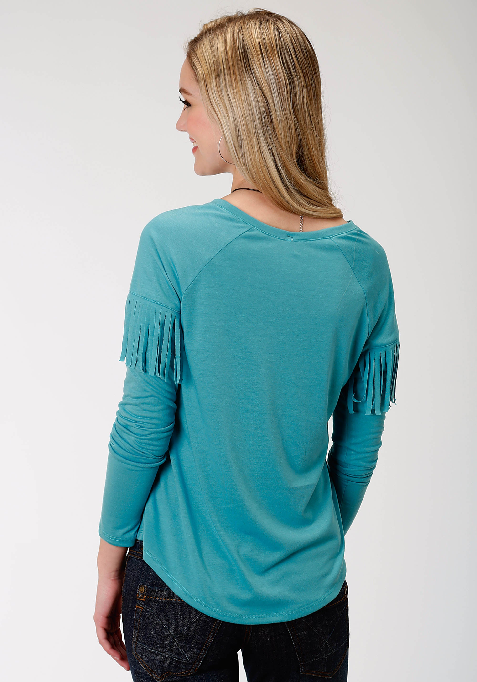 ROPER WOMENS BLUE 0490 P/R JERSEY LS CREW NECK TEE FIVE STAR COLLECTION- FALL III LONG SLEEVE