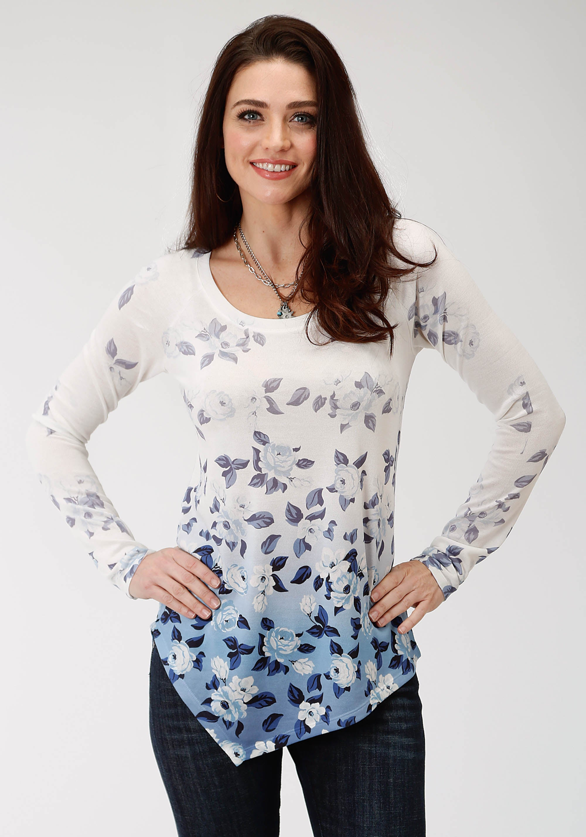 ROPER WOMENS WHITE 9505 SWEATER JERSEY TOP STUDIO WEST COLLECTION- STEEL MAGNOLIAS LONG SLEEVE