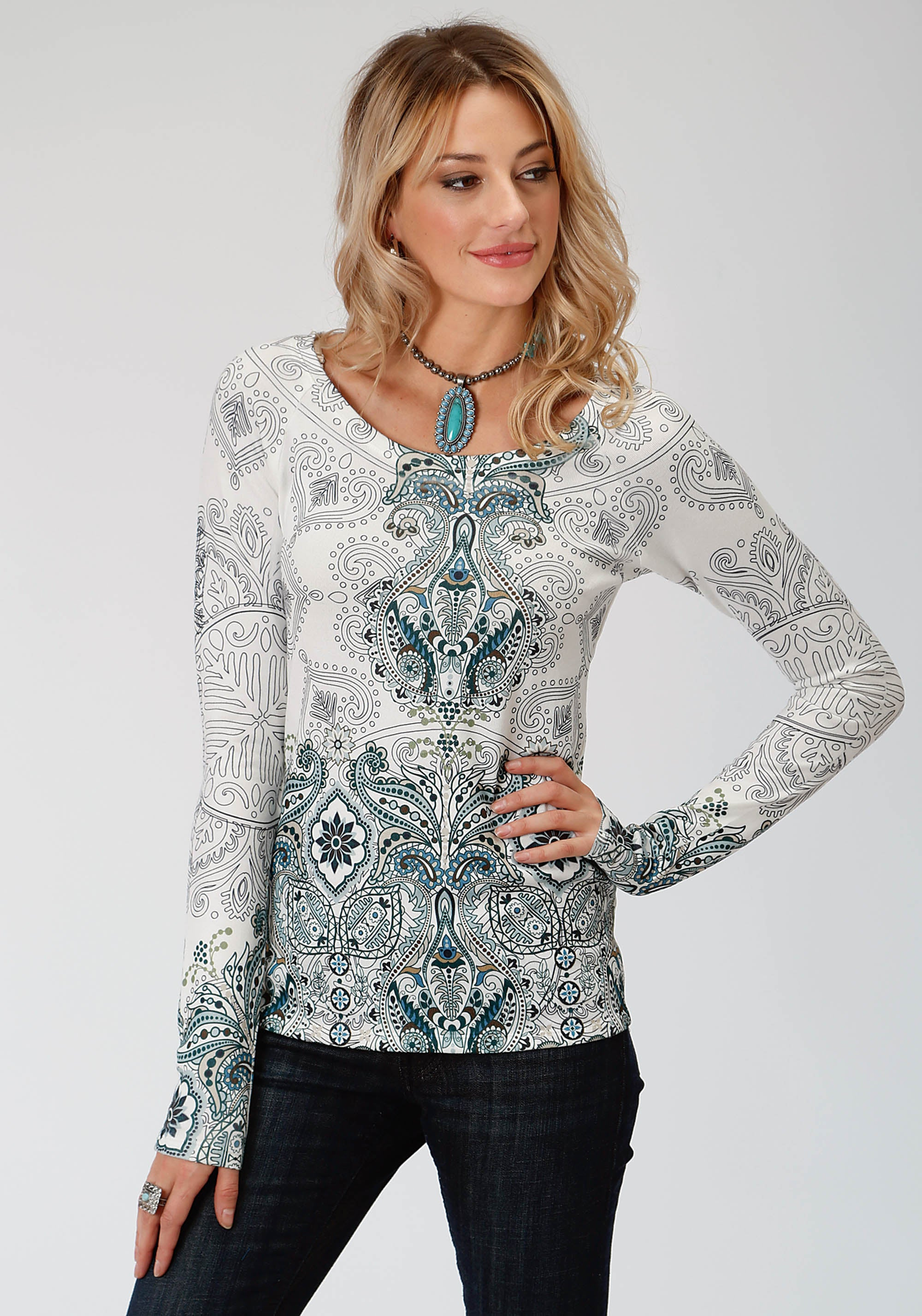 ROPER WOMENS WHITE 9505 SWEATER KNIT TOP STUDIO WEST COLLECTION- AUTUMN MEADOW LONG SLEEVE