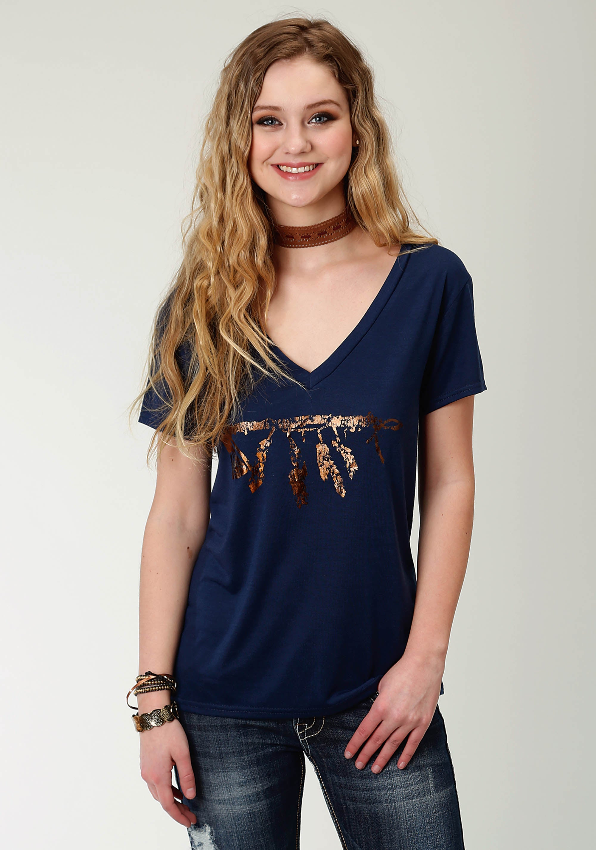 ROPER WOMENS BLUE 2259 POLY RAYON JERSEY SS V NECK TEE FIVE STAR COLLECTION- WINTER I SHORT SLEEVE