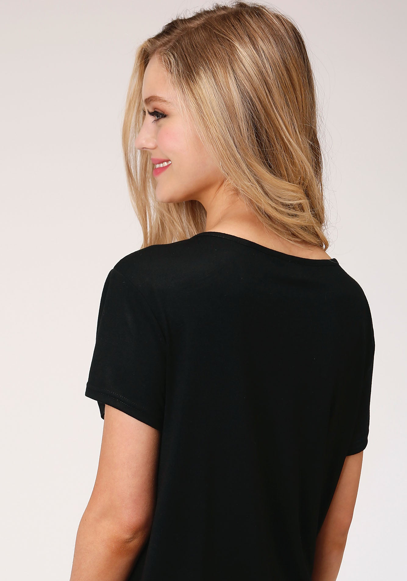 ROPER WOMENS BLACK 00134 POLY RAYON JERSEY CREW NECK TEE FIVE STAR COLLECTION- SPRING I SHORT SLEEVE