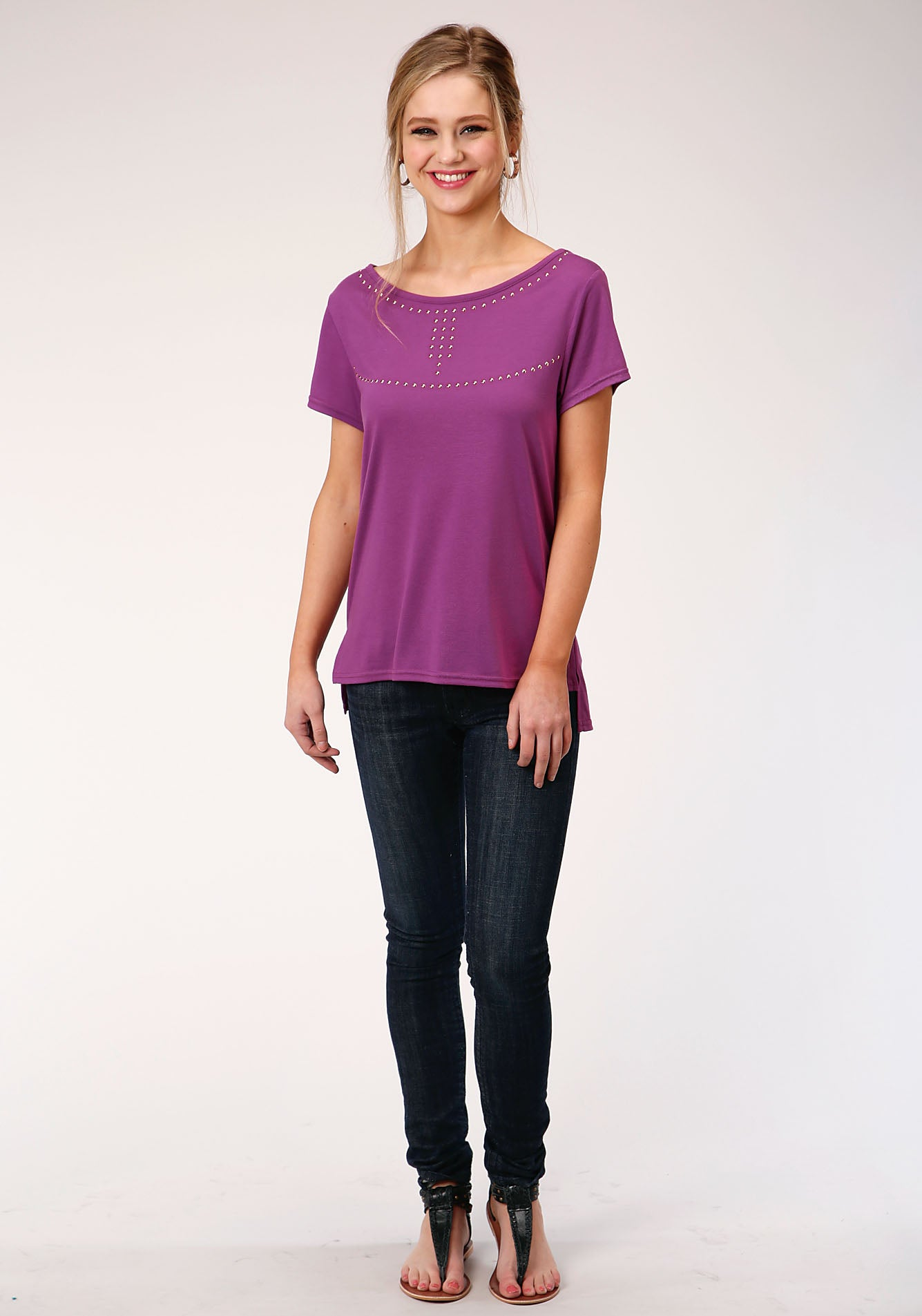 ROPER WOMENS PURPLE 00134 POLY RAYON JERSEY TEE FIVE STAR COLLECTION- SPRING II SHORT SLEEVE