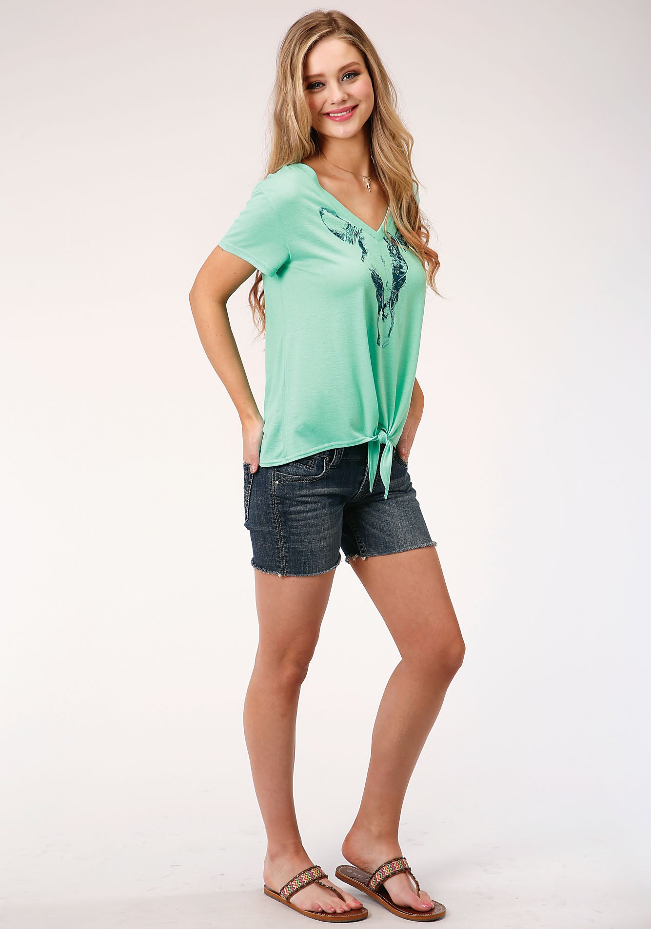 ROPER WOMENS GREEN 00134 POLY RAYON JERSEY V NECK TEE FIVE STAR COLLECTION- SPRING II SHORT SLEEVE