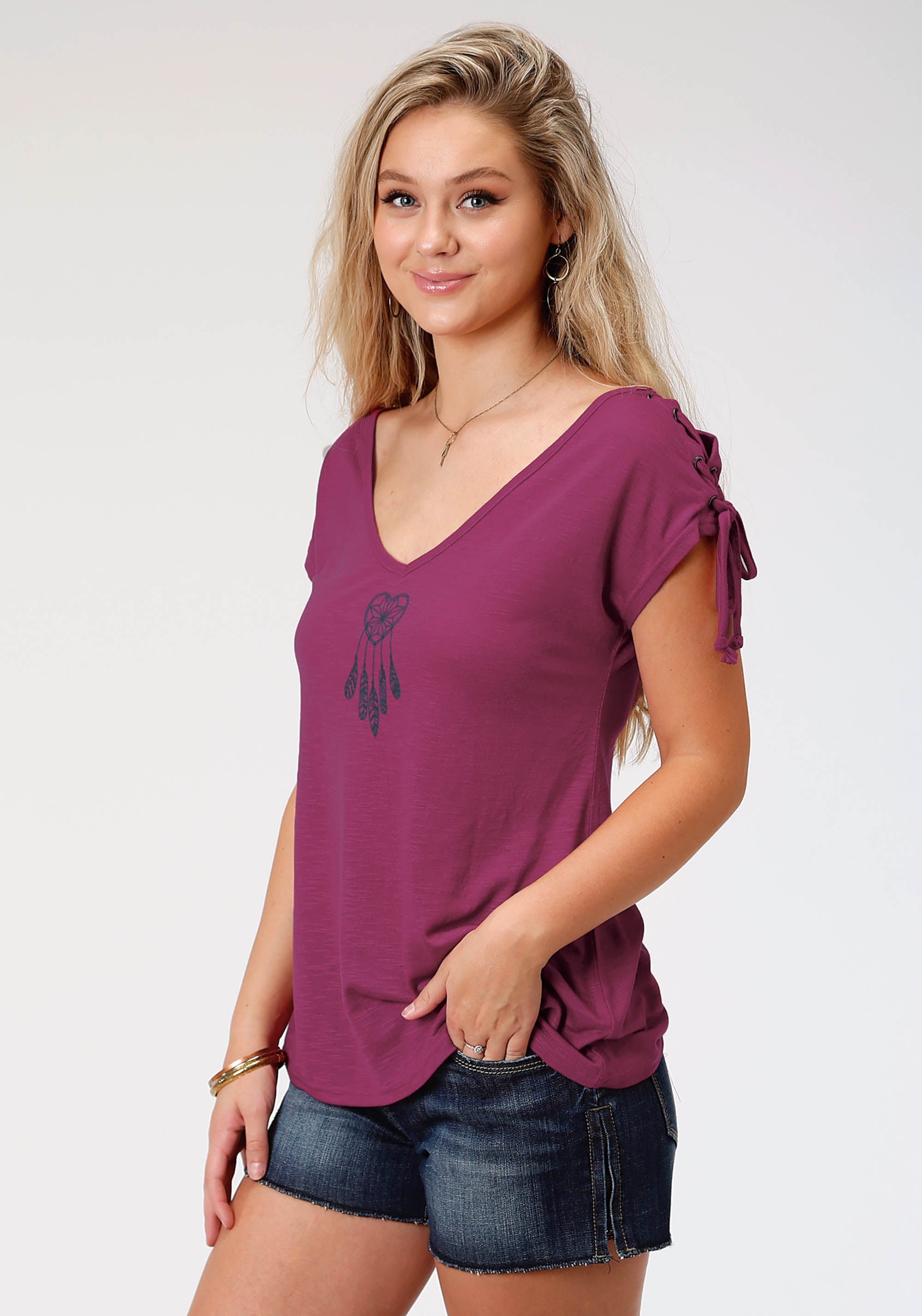 ROPER WOMENS PURPLE 8173 POLY RAYON LACE-UP SS TEE FIVE STAR COLLECTION- SUMMER II SHORT SLEEVE
