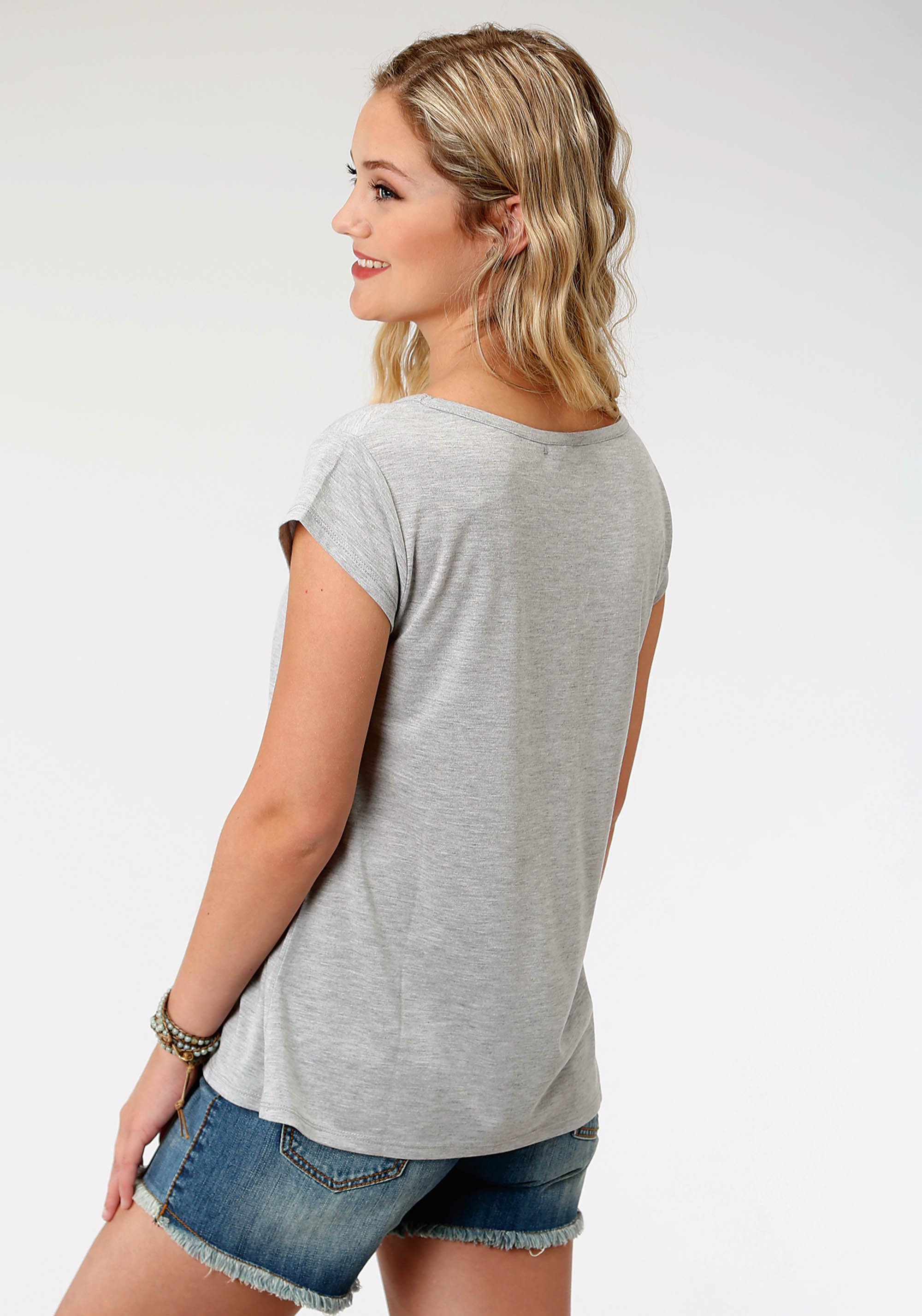 ROPER WOMENS GREY 8173 P/R JERSEY CAP SLV TEE FIVE STAR COLLECTION- SUMMER II SHORT SLEEVE