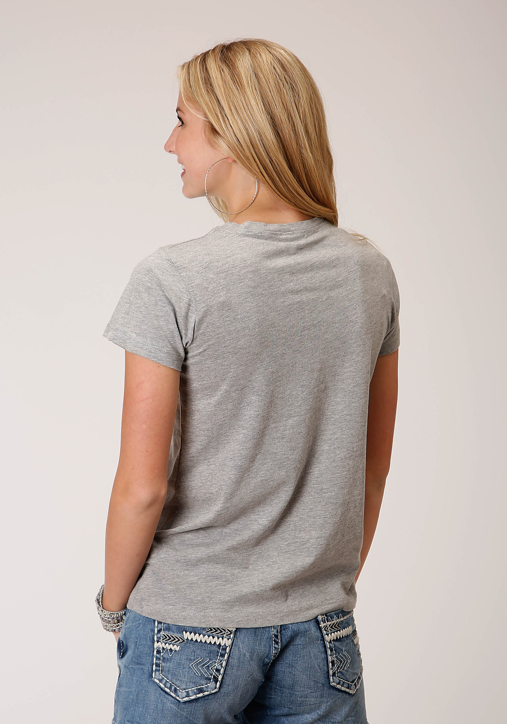 FIVE STAR WOMENS GREY 00838 HEATHER GREY P/R JERSEY KNIT TOP SEASON 2 GROUP 2