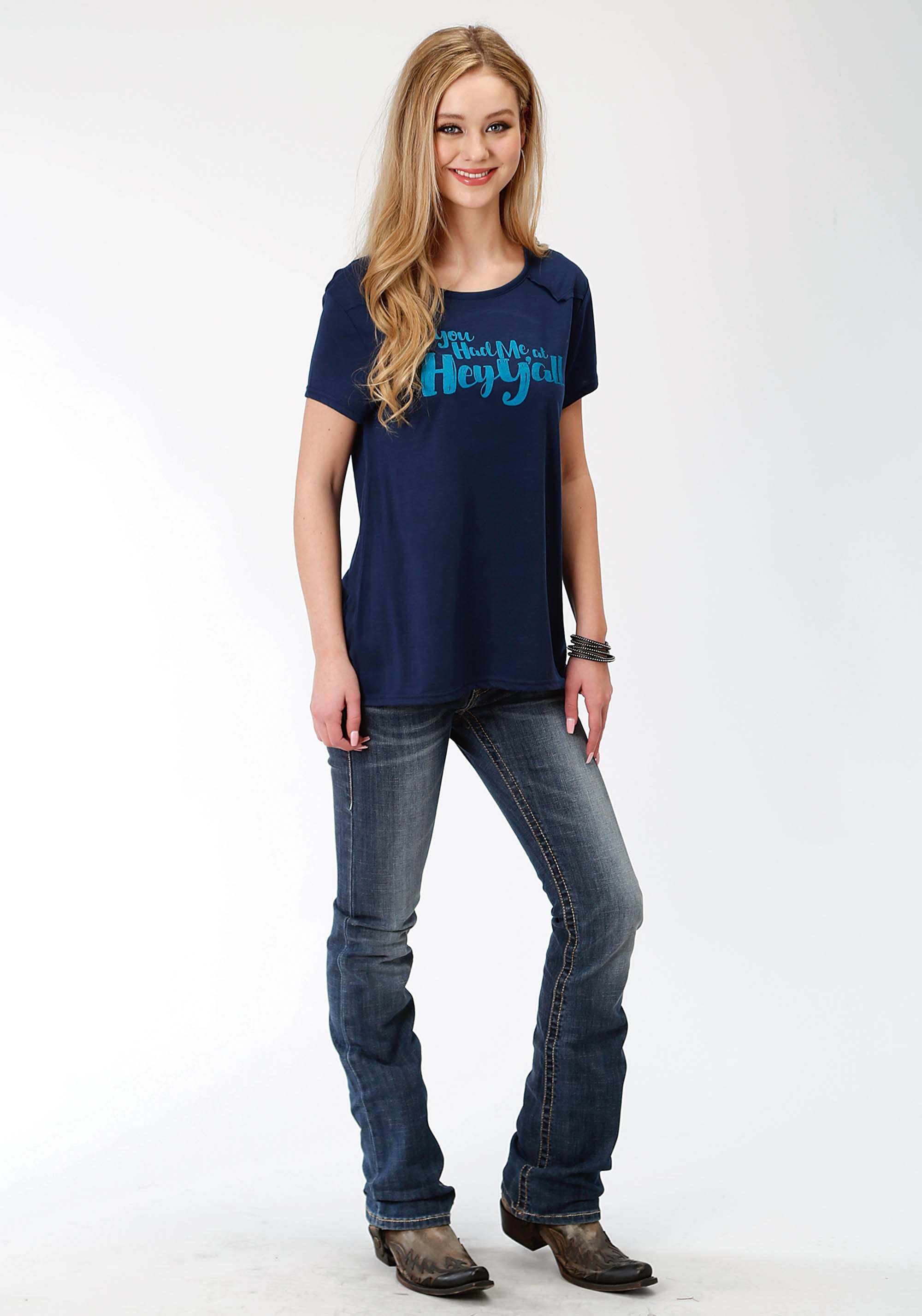 ROPER WOMENS BLUE 0494 POLY RAYON JERSEY KNIT SS TEE FIVE STAR COLLECTION- FALL I SHORT SLEEVE