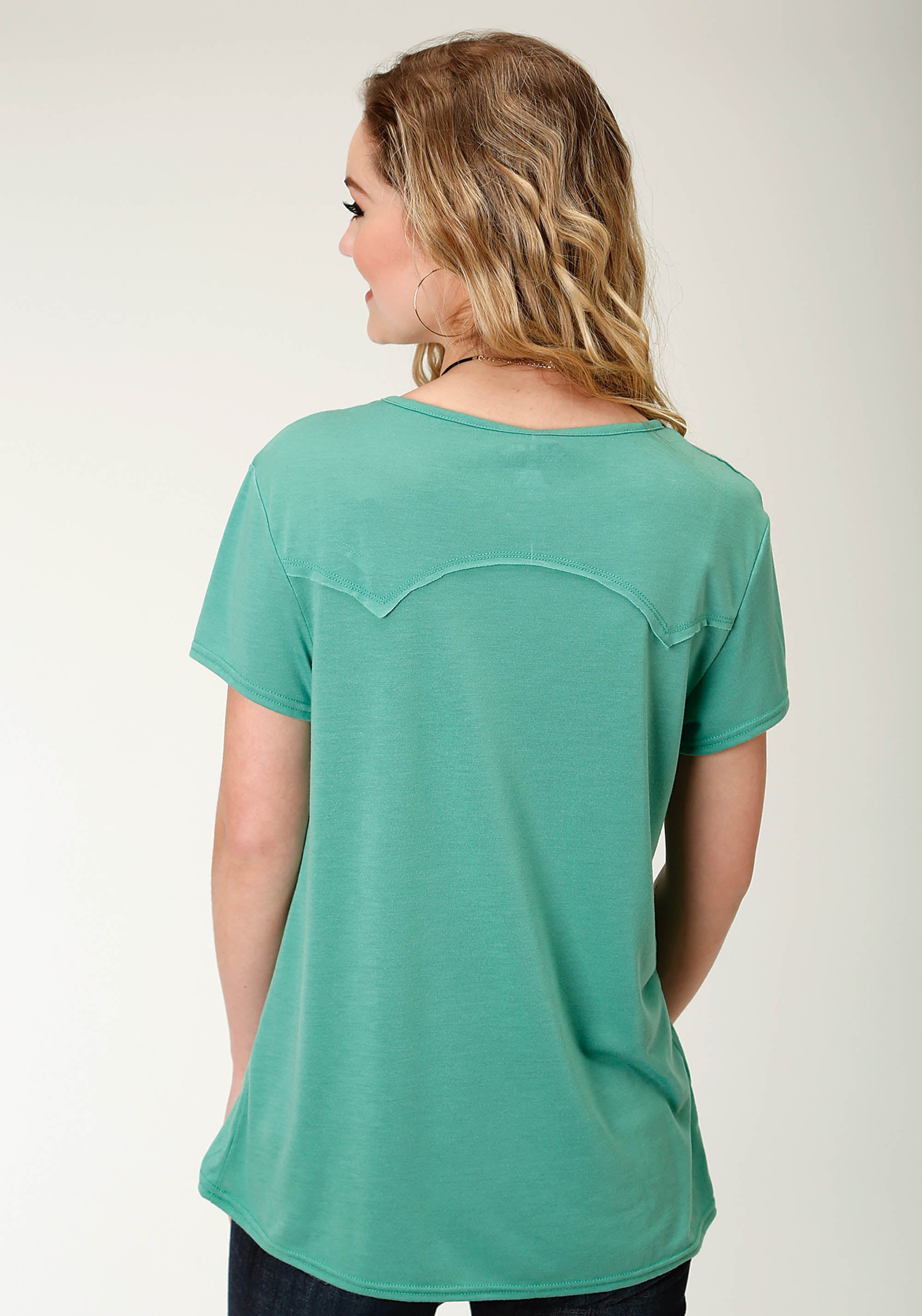 ROPER WOMENS GREEN 2250 POLY/RAYON JERSEY TEE FIVE STAR COLLECTION- FALL I SHORT SLEEVE