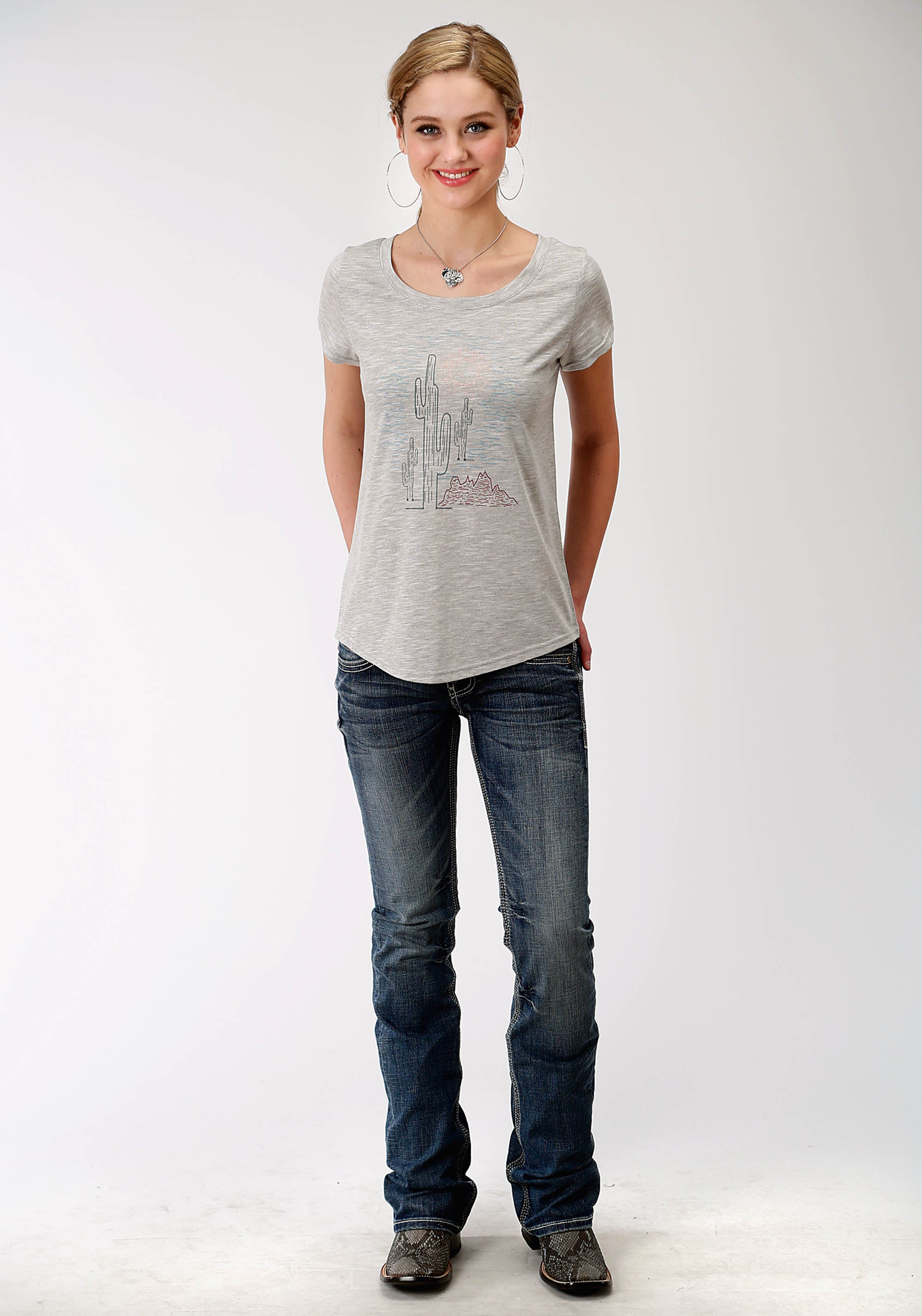 ROPER WOMENS GREY 0489 P/R LADIES SS CREW NECK TEE FIVE STAR COLLECTION- FALL II SHORT SLEEVE