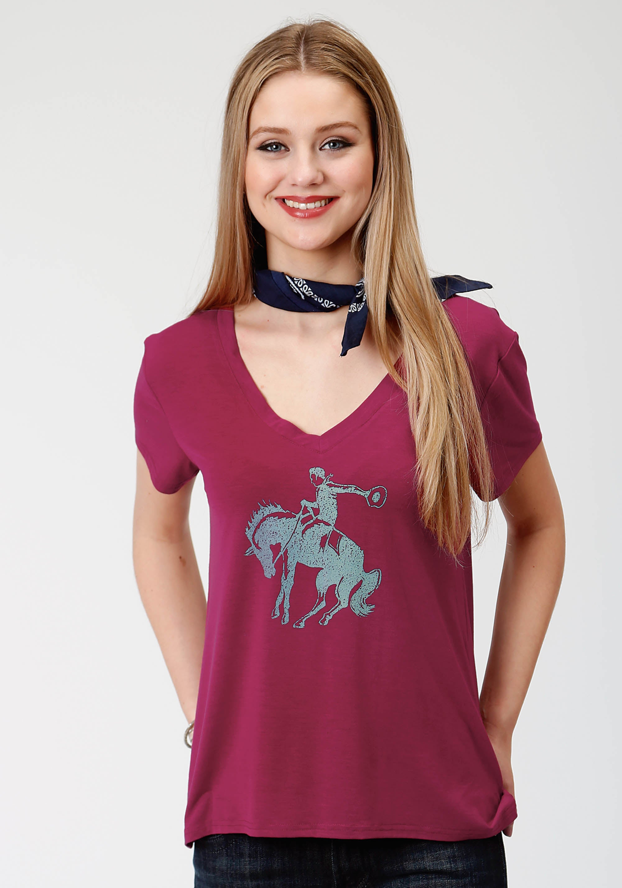 ROPER WOMENS RED 3675 P/R JERSEY V NECK TEE FIVE STAR- WINTER I SHORT SLEEVE