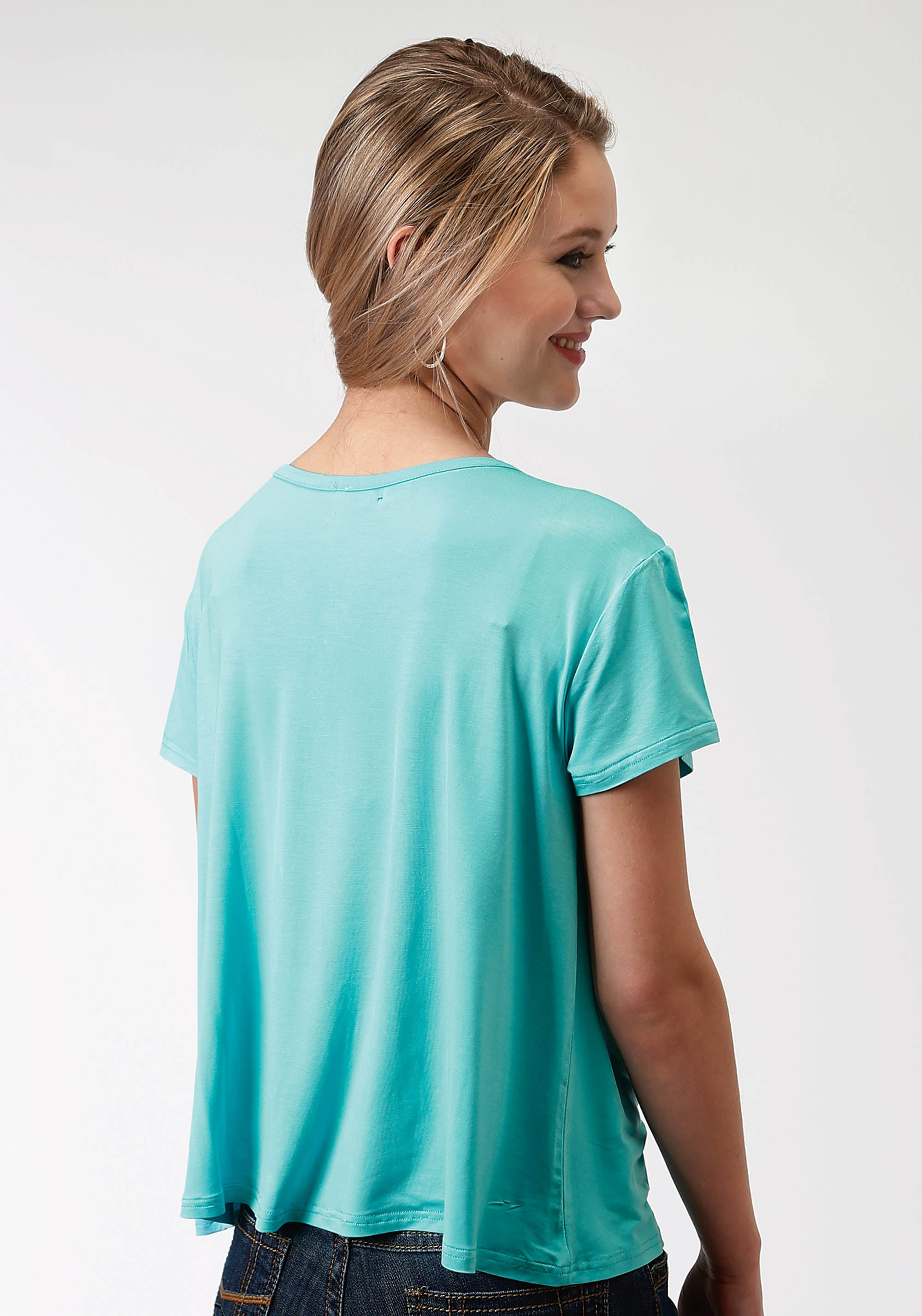 ROPER WOMENS BLUE 3675 POLY RAYON JERSEY SS V NECK FIVE STAR- WINTER II SHORT SLEEVE