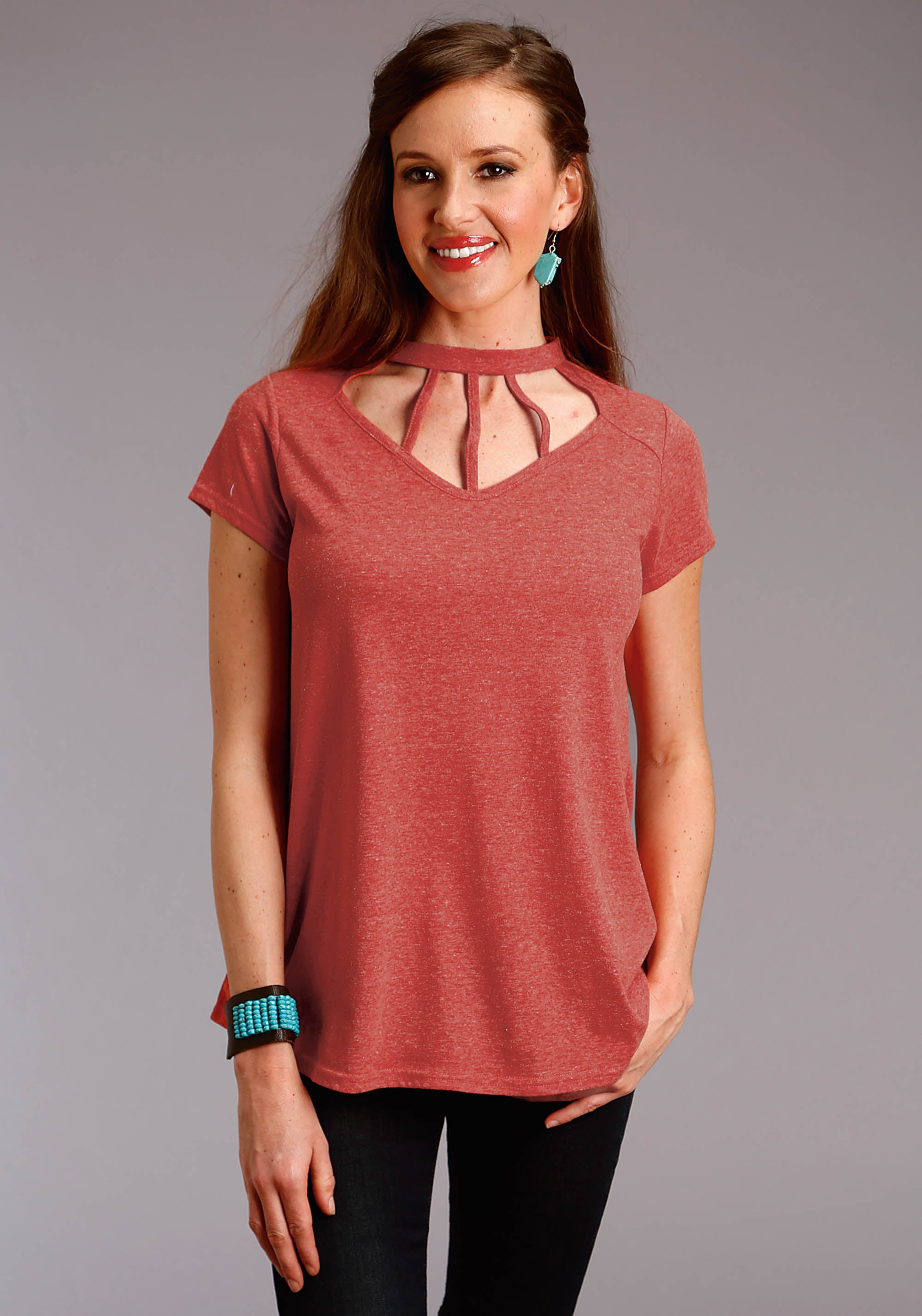 ROPER WOMENS RED 2596 HEATHER JERSEY MOCK-NECK TOP STUDIO WEST COLLECTION- TAOS SUNRISE SHORT SLEEVE