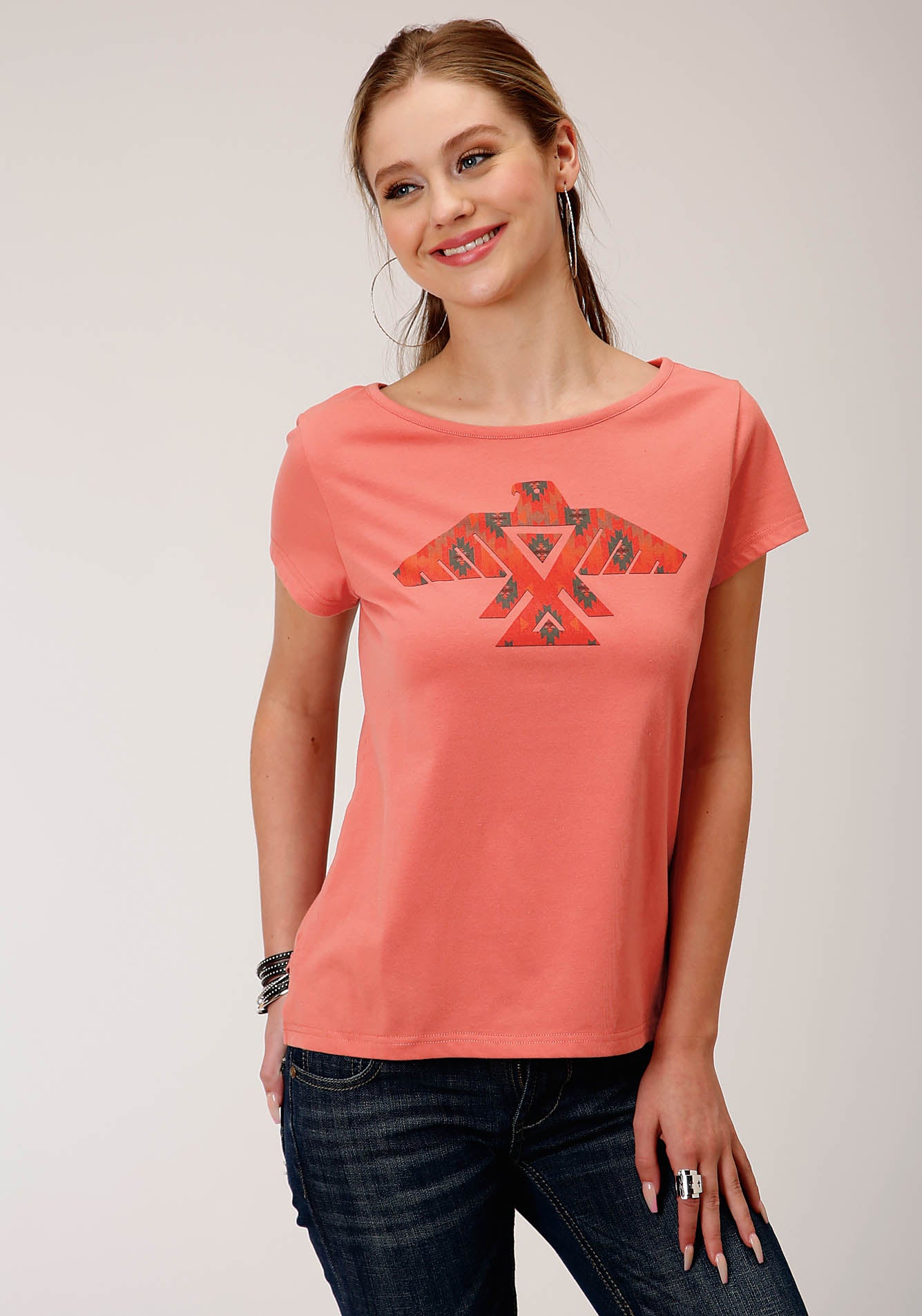 ROPER WOMENS PINK 00245 COTTON POLY SS TEE FIVE STAR COLLECTION- SUMMER III SHORT SLEEVE