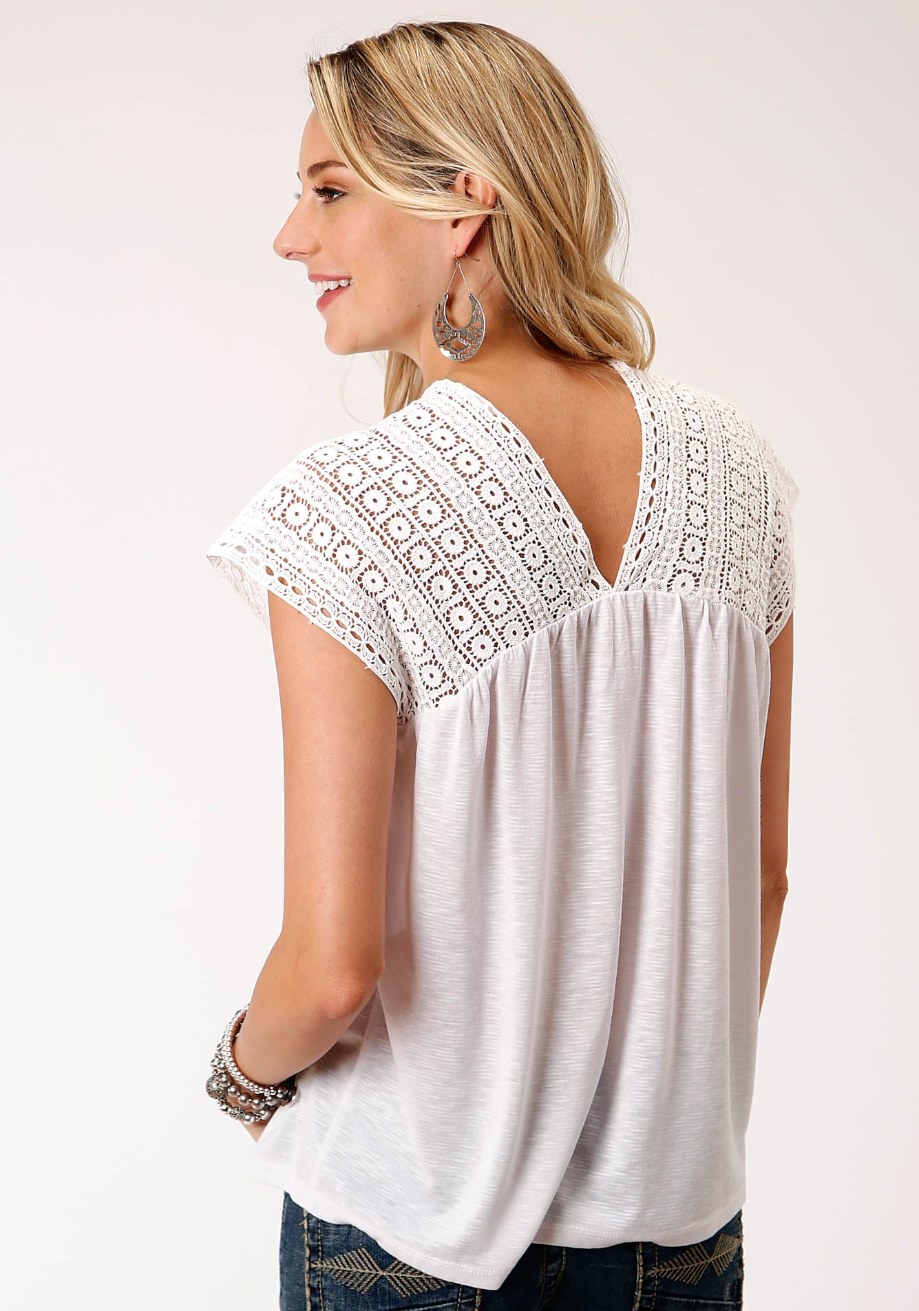 ROPER WOMENS WHITE 00214 POLY RAYON SLUB JERSEY TOP STUDIO WEST- SUMMER SOLSTICE SHORT SLEEVE