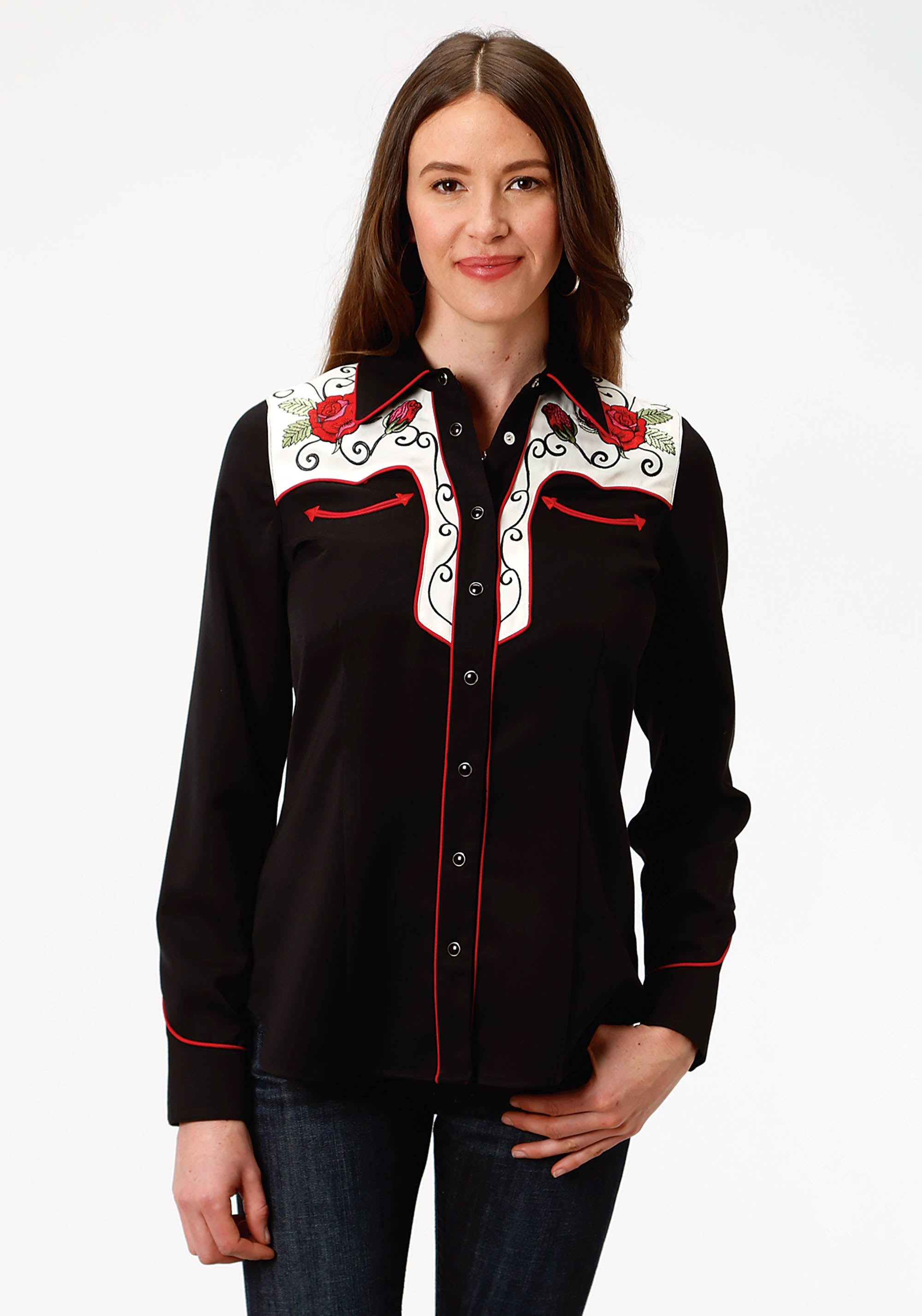 ROPER WOMENS BLACK 1489 VINTAGE YOKE TWO TONE OLD WEST COLLECTION LONG SLEEVE