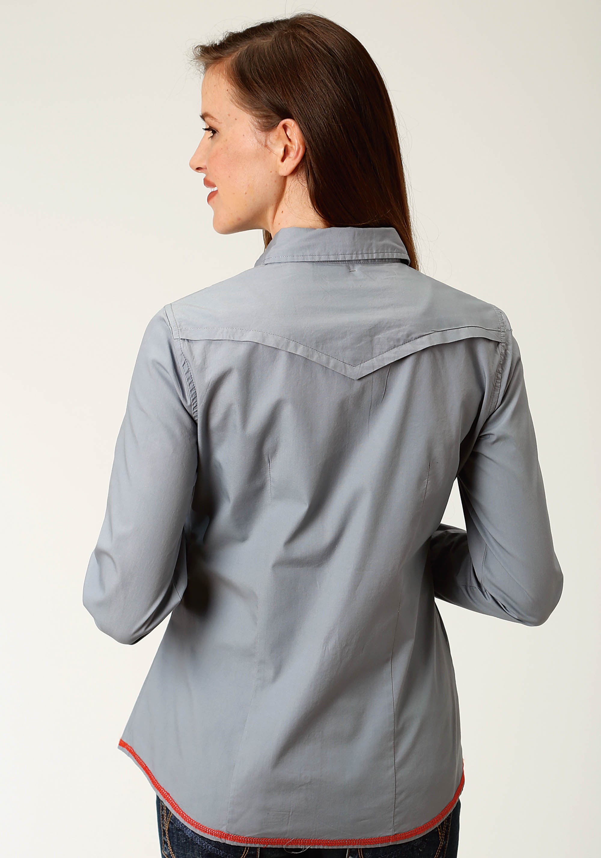ROPER WOMENS GREY 2613 SOLID GREY POPLIN WEST MADE COLLECTION LONG SLEEVE
