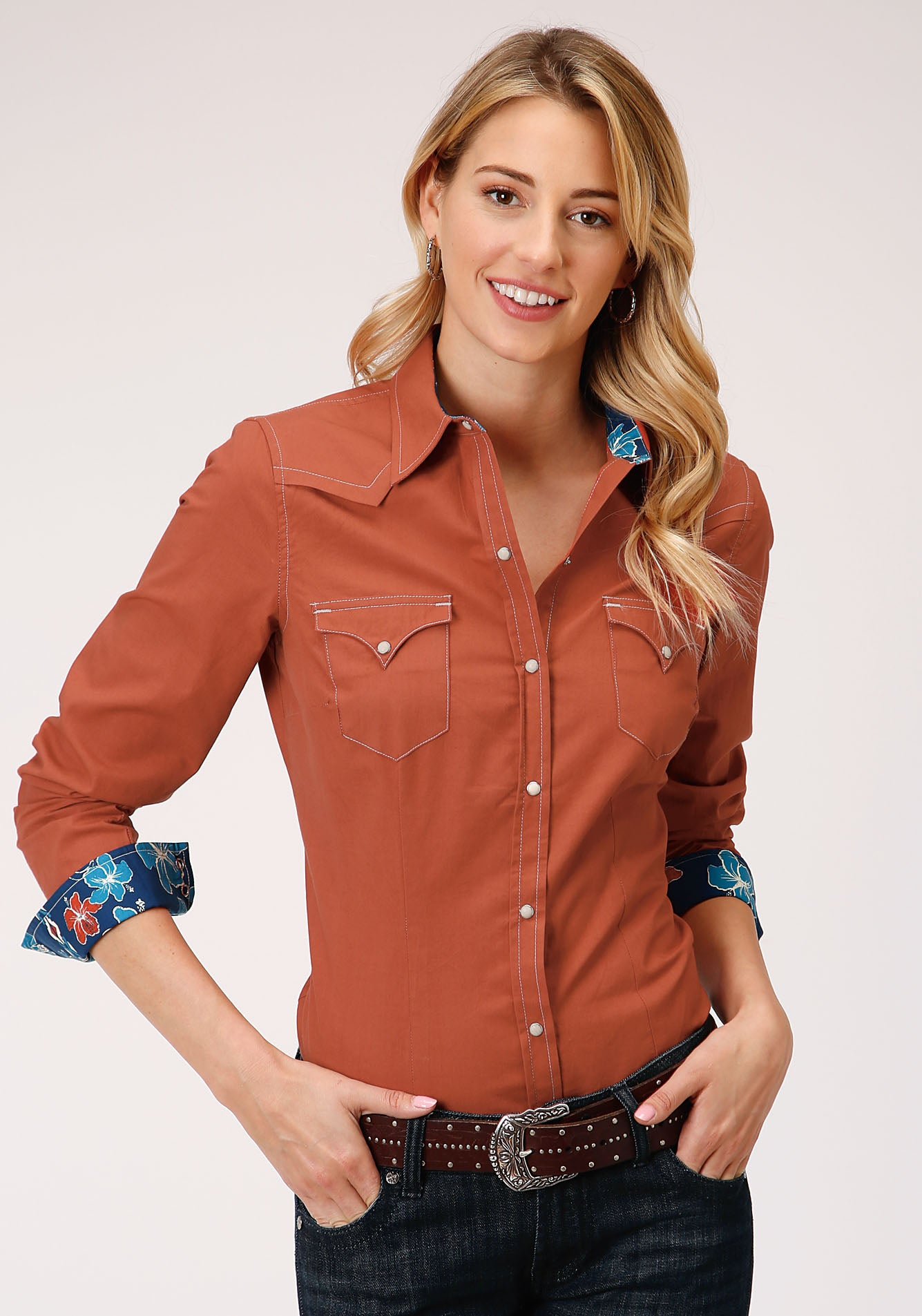 ROPER WOMENS ORANGE 00106 SOLID POPLIN - ORANGE WEST MADE COLLECTION LONG SLEEVE