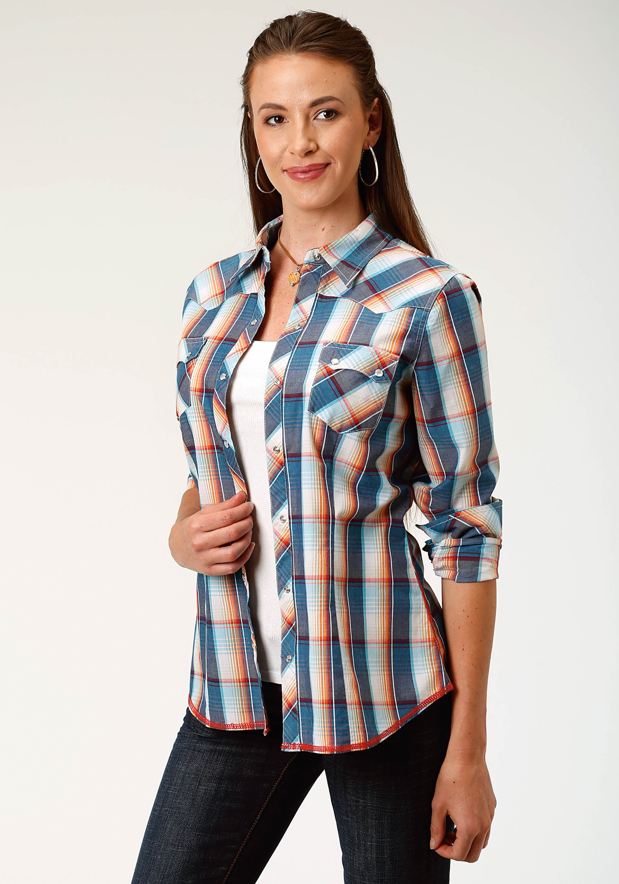ROPER WOMENS BLUE 3870 SUNDOWN PLAID WEST MADE COLLECTION LONG SLEEVE