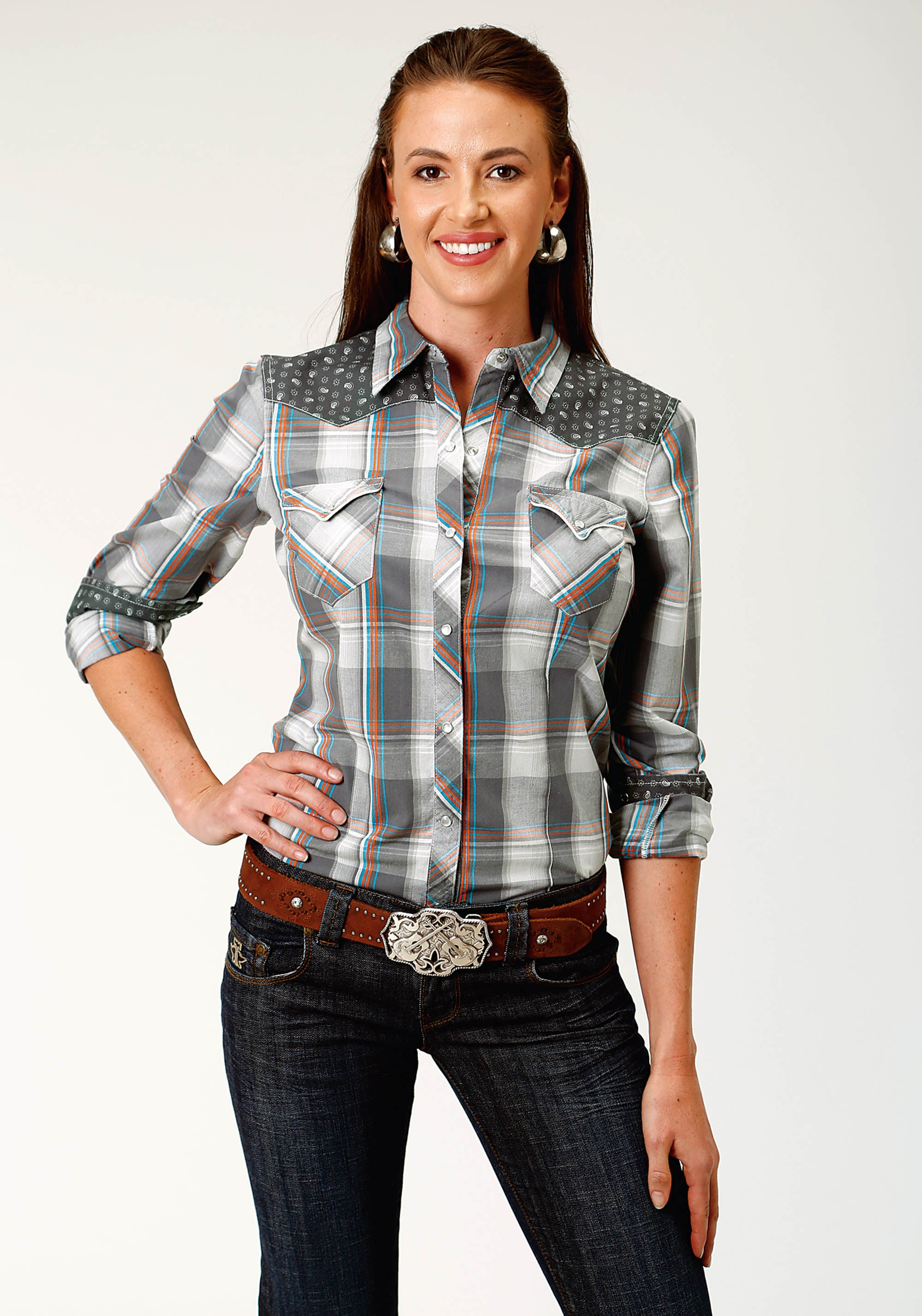 ROPER WOMENS GREY 3869 HAZY DAY PLAID WEST MADE COLLECTION LONG SLEEVE