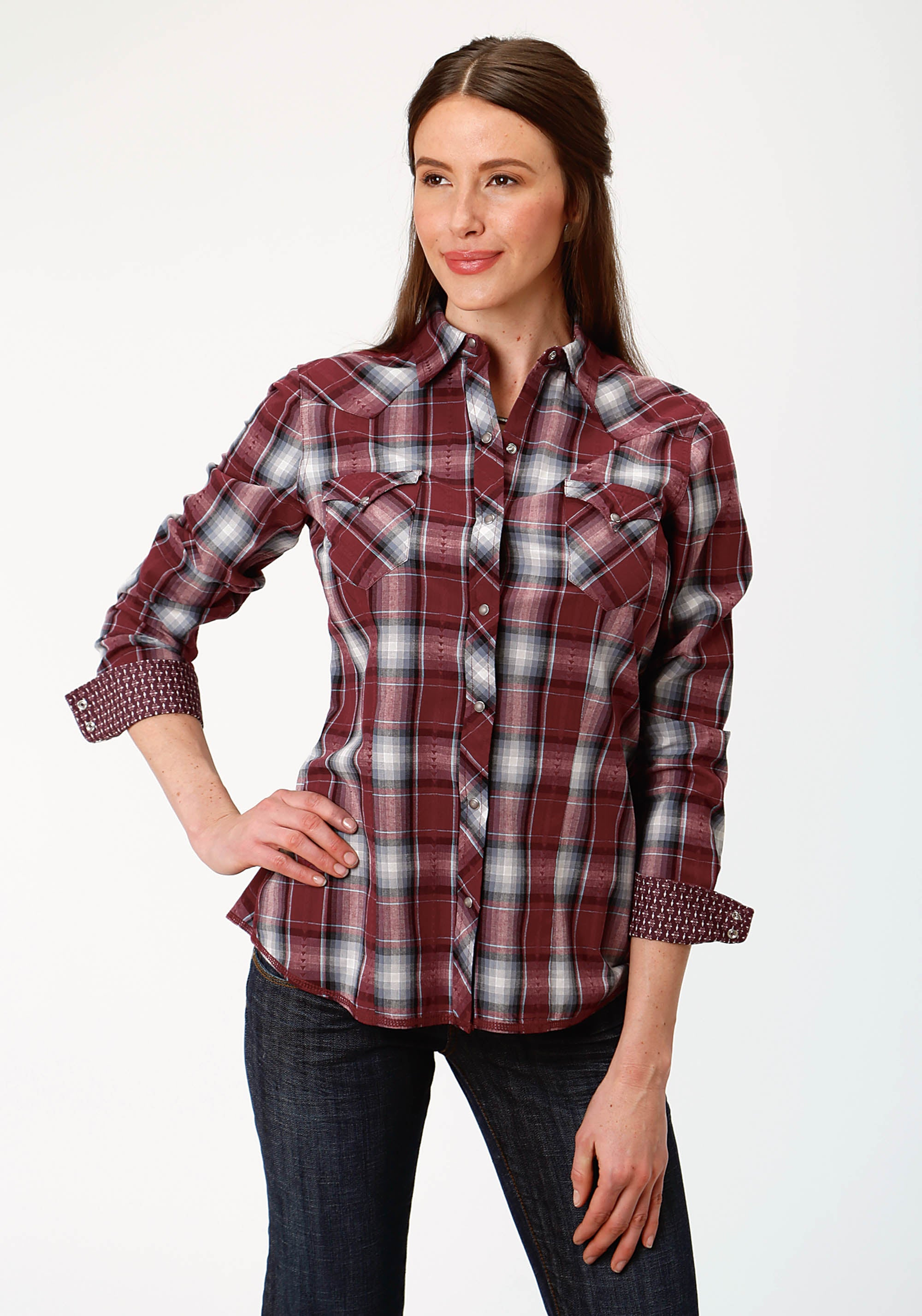 ROPER WOMENS RED 0716 CARDINAL PLAID DOBBY WEST MADE COLLECTION LONG SLEEVE