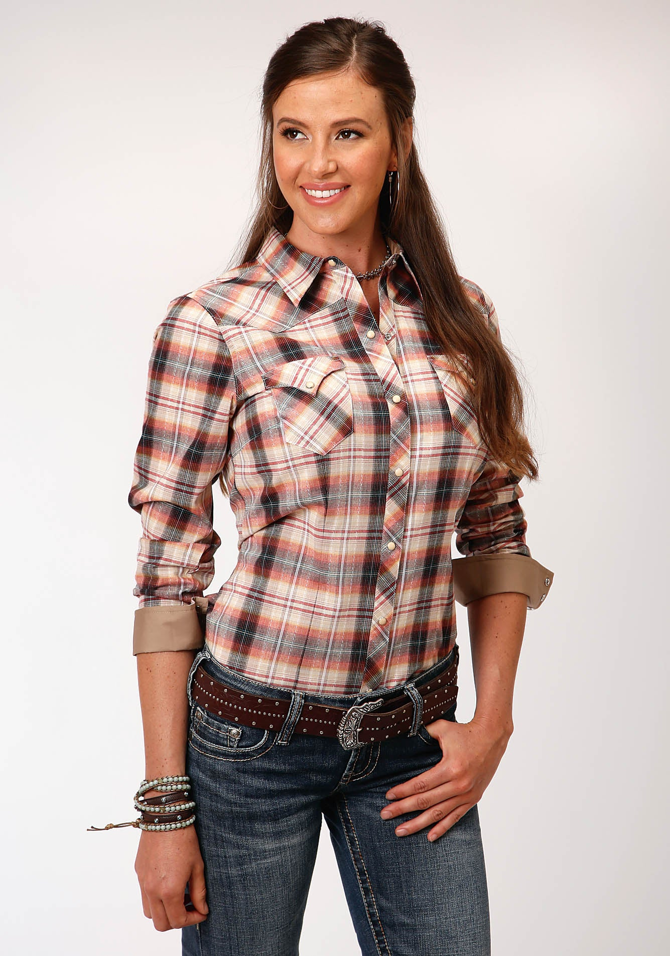 ROPER WOMENS MULTI 00188 ROPE PLAID WEST MADE COLLECTION LONG SLEEVE