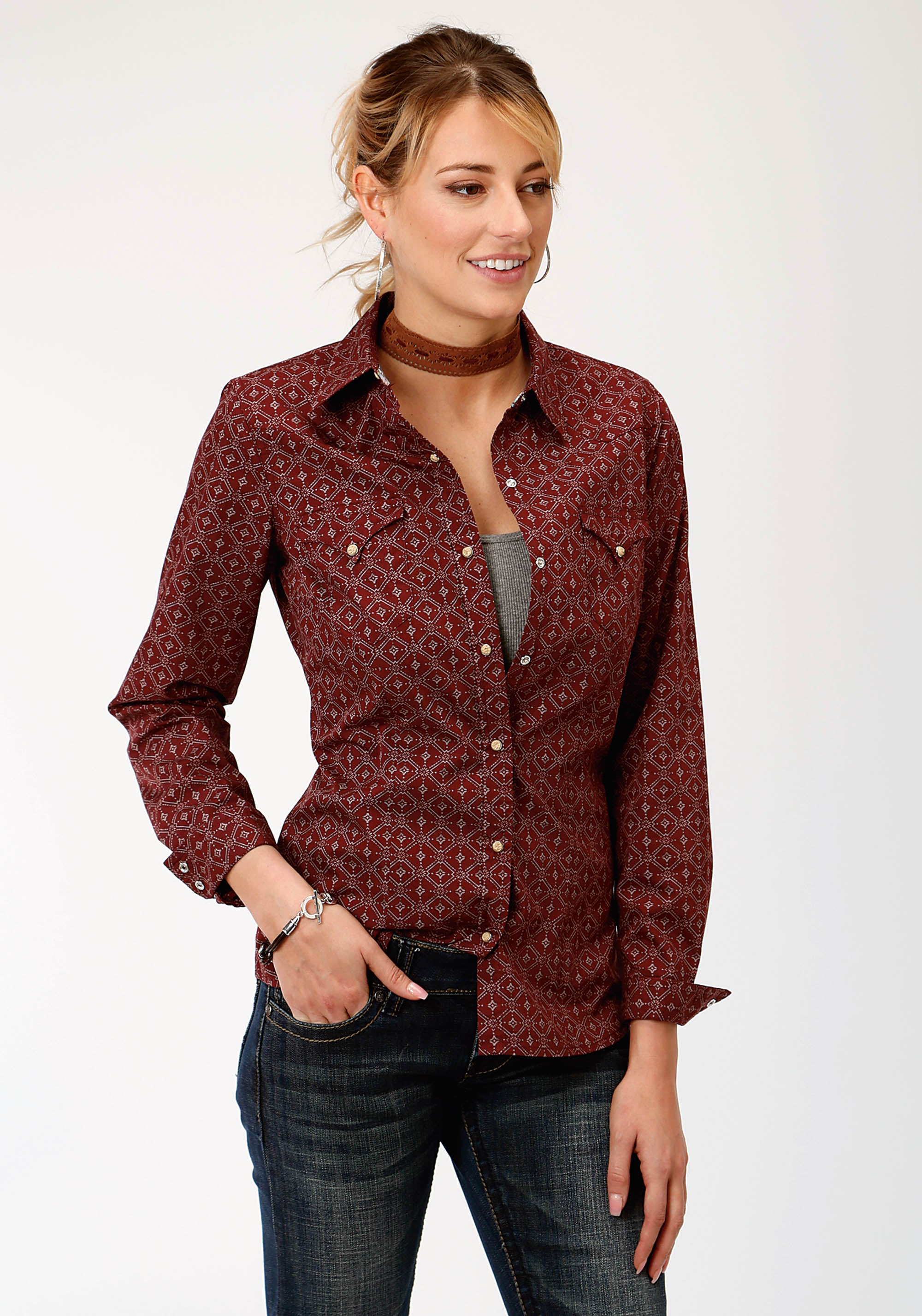 ROPER WOMENS RED 787 LATTICE SHADOW WEST MADE COLLECTION LONG SLEEVE