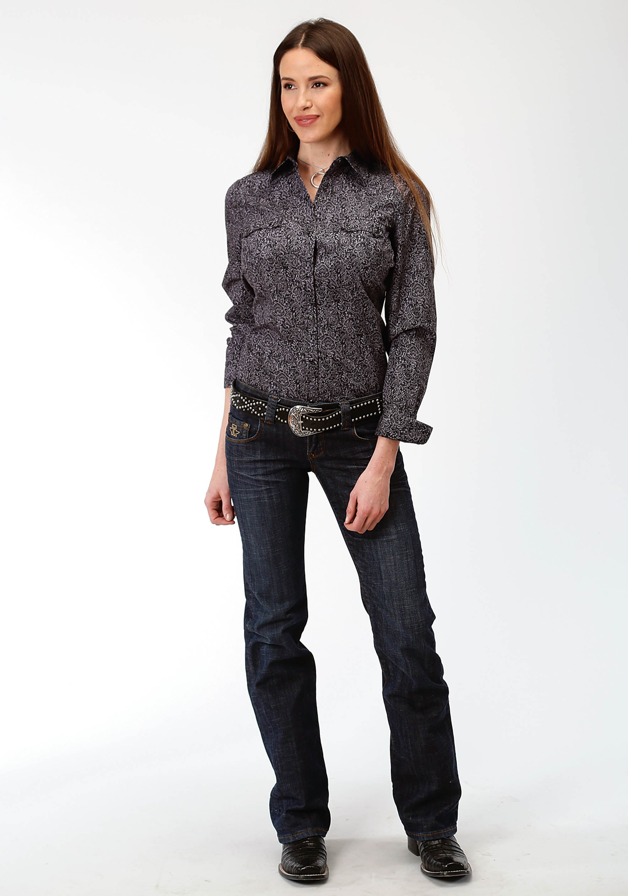 ROPER WOMENS BLACK 0757 BLACK PAISLEY WEST MADE COLLECTION LONG SLEEVE