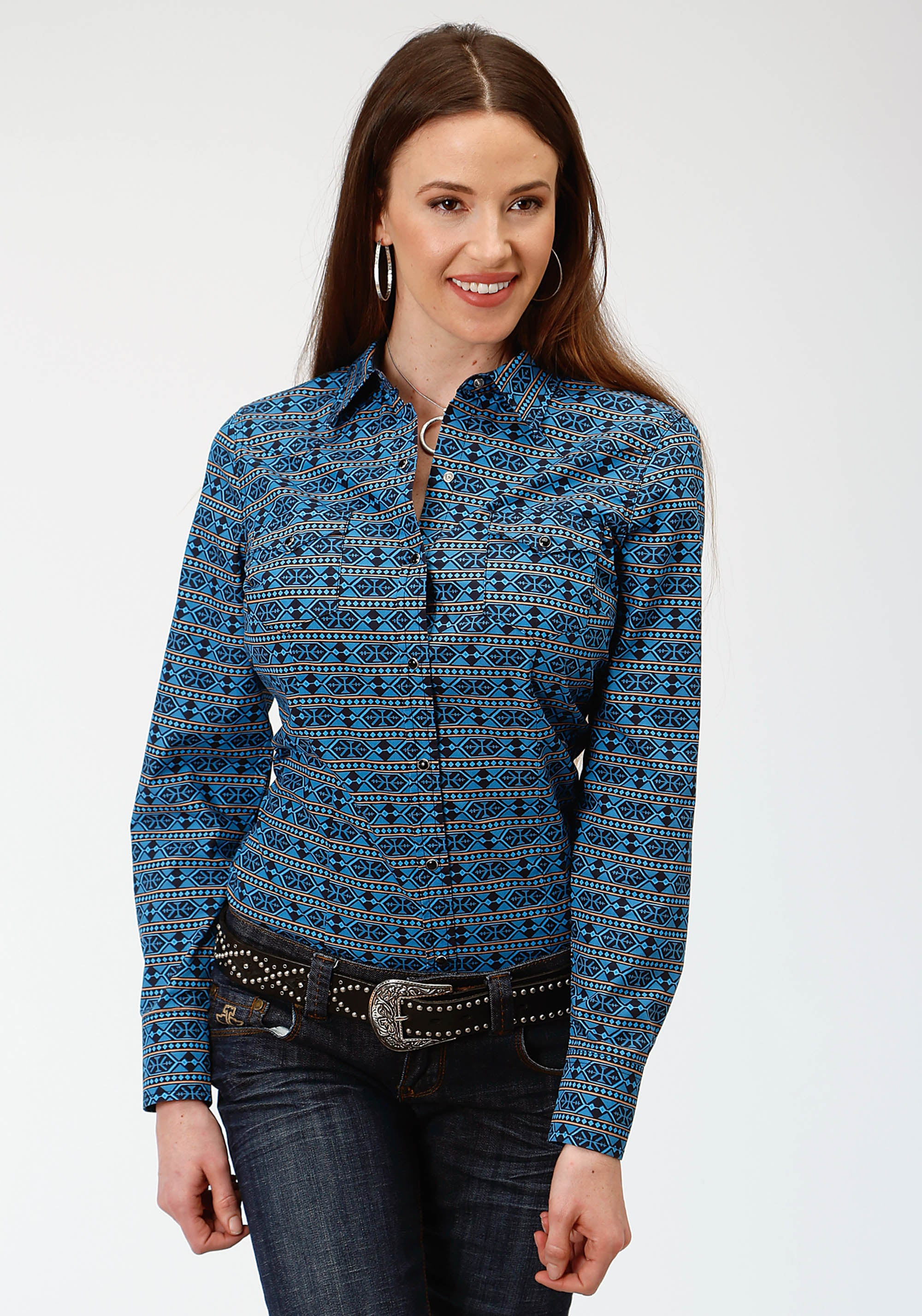 ROPER WOMENS BLUE 0810 HEX AZTEC PRINT WEST MADE COLLECTION LONG SLEEVE