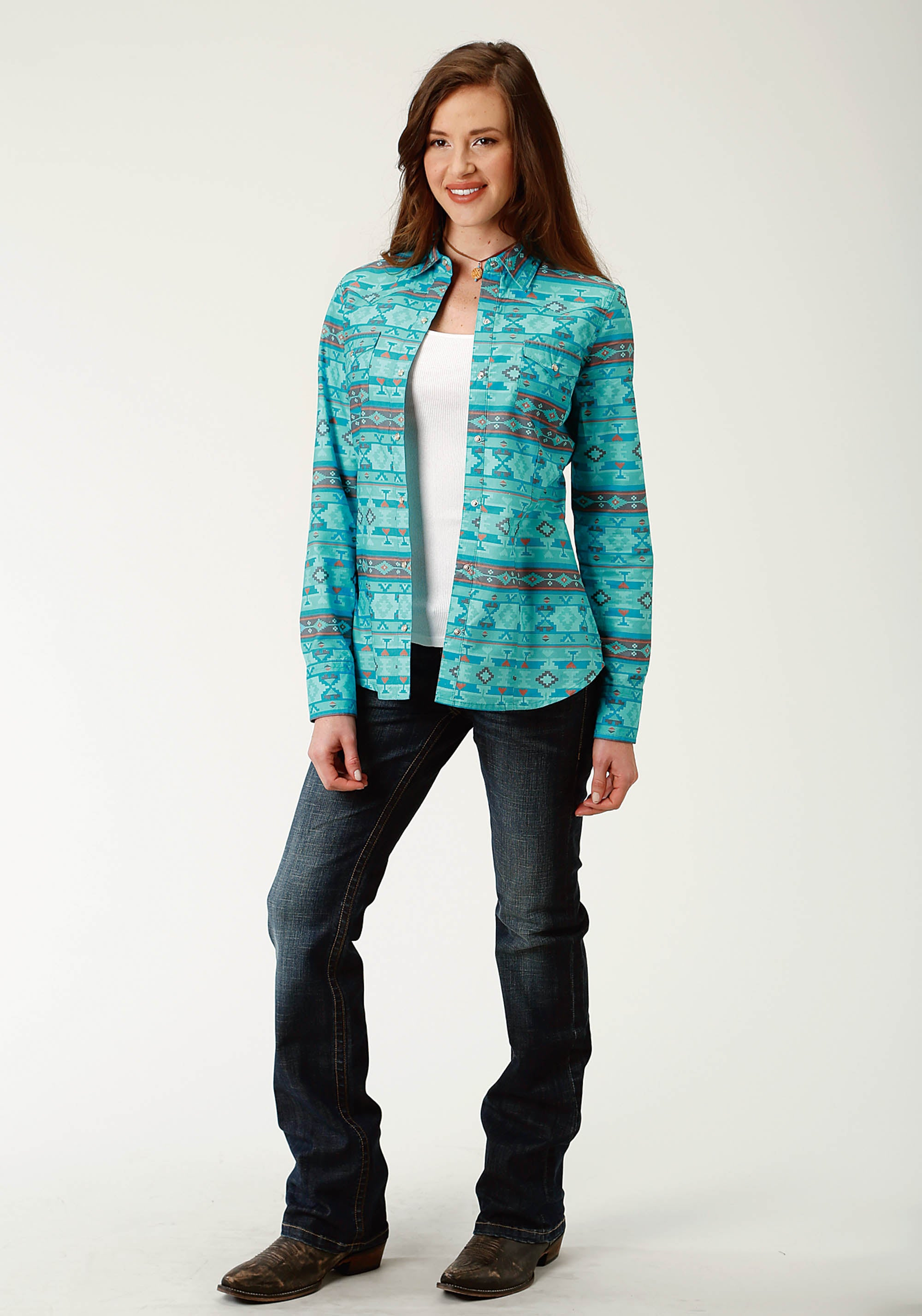 ROPER WOMENS BLUE 2609 BLUE HORIZON AZTEC WEST MADE COLLECTION LONG SLEEVE