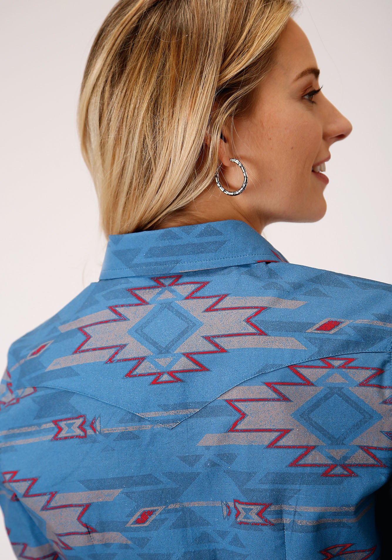 ROPER WOMENS BLUE 00077 SANDSTORM AZTEC WEST MADE COLLECTION LONG SLEEVE