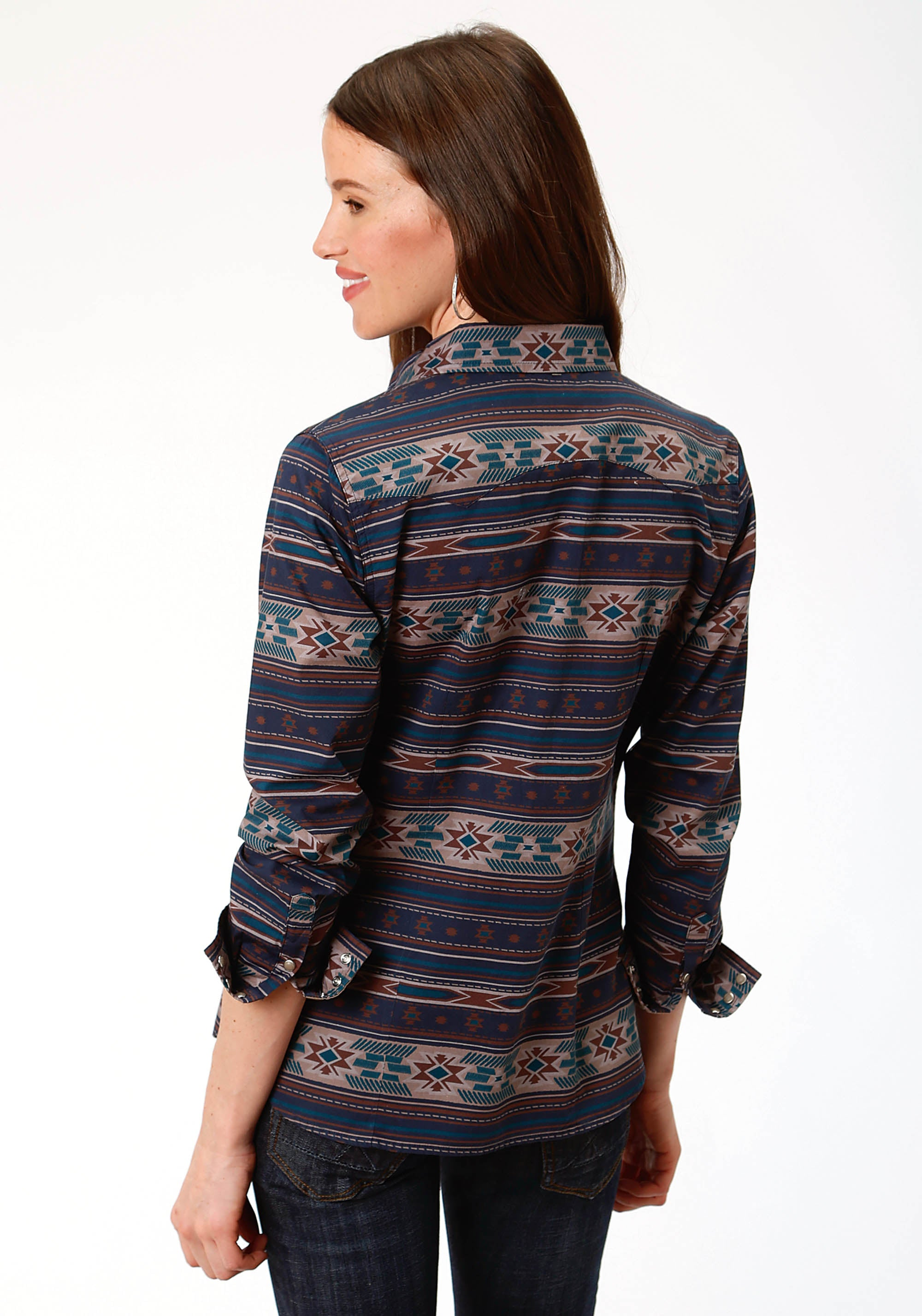 ROPER WOMENS BLUE 0800 CLOUDY SUNSET PRINT WEST MADE COLLECTION LONG SLEEVE