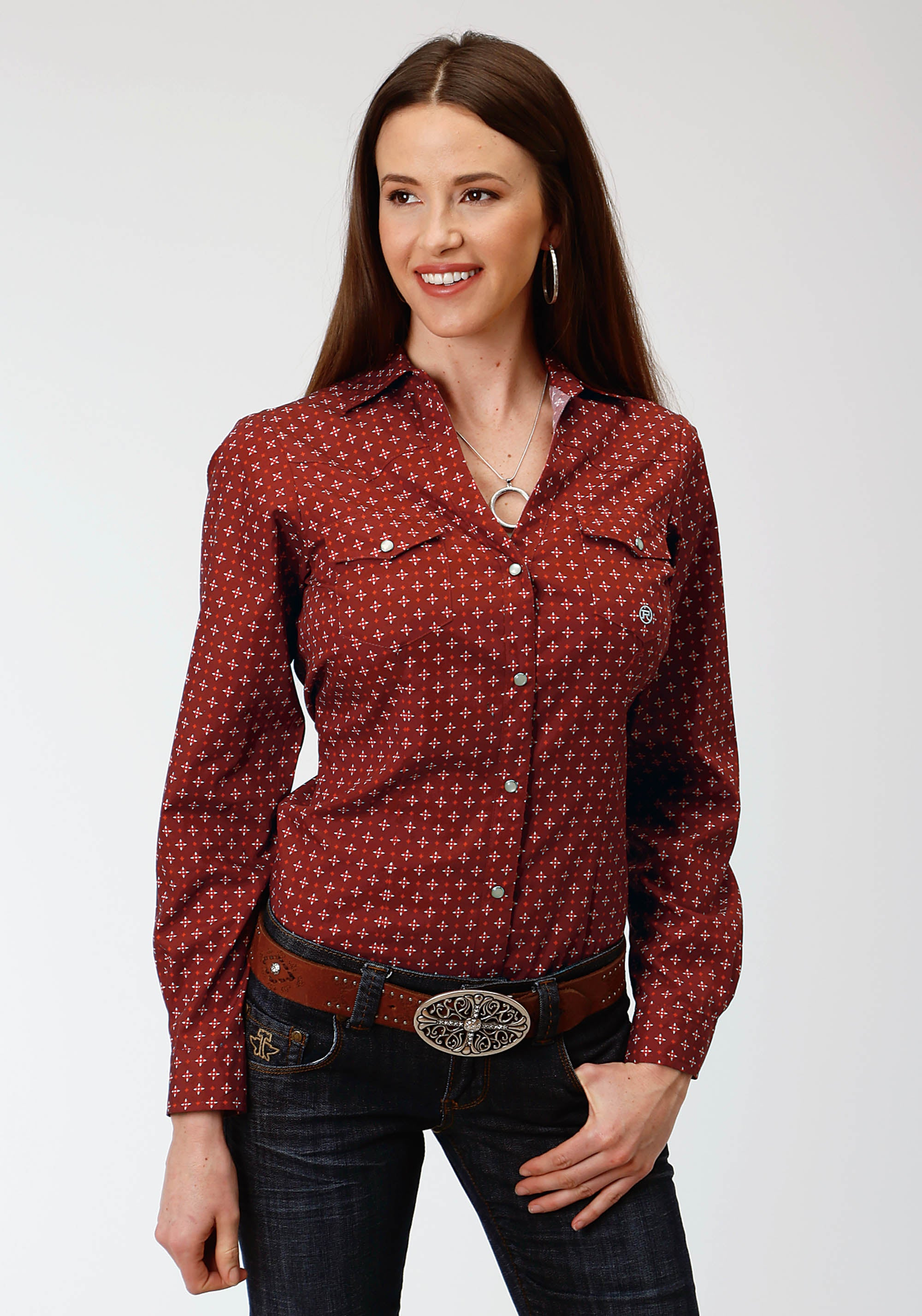 ROPER WOMENS RED 1195 VOYAGER FOULARD LADIES AMARILLO COLLECTION-FIRESIDE LONG SLEEVE