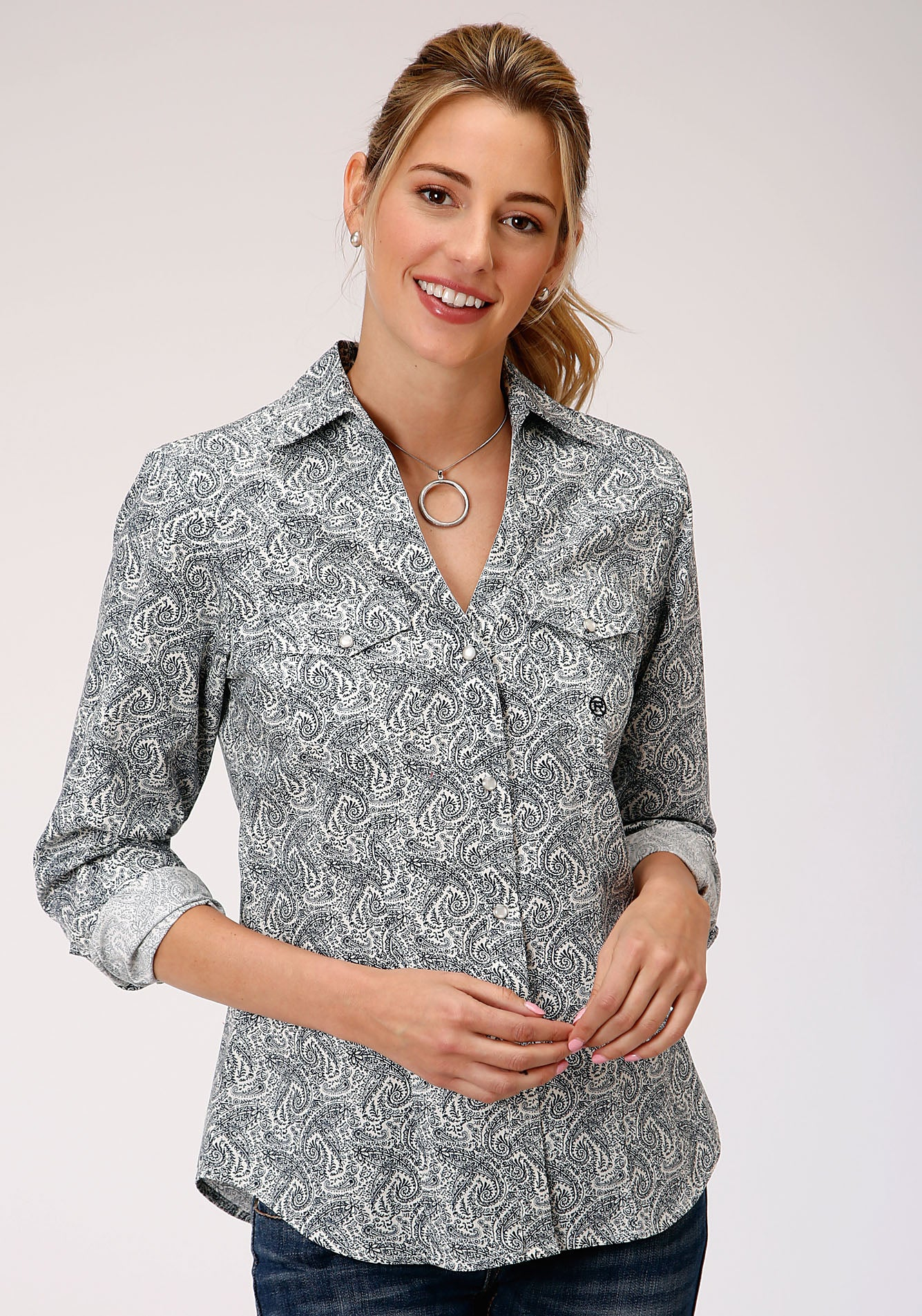 ROPER WOMENS BLUE 00023 GENTLEMAN'S PAISLEY LADIES AMARILLO COLLECTION- HERITAGE LONG SLEEVE